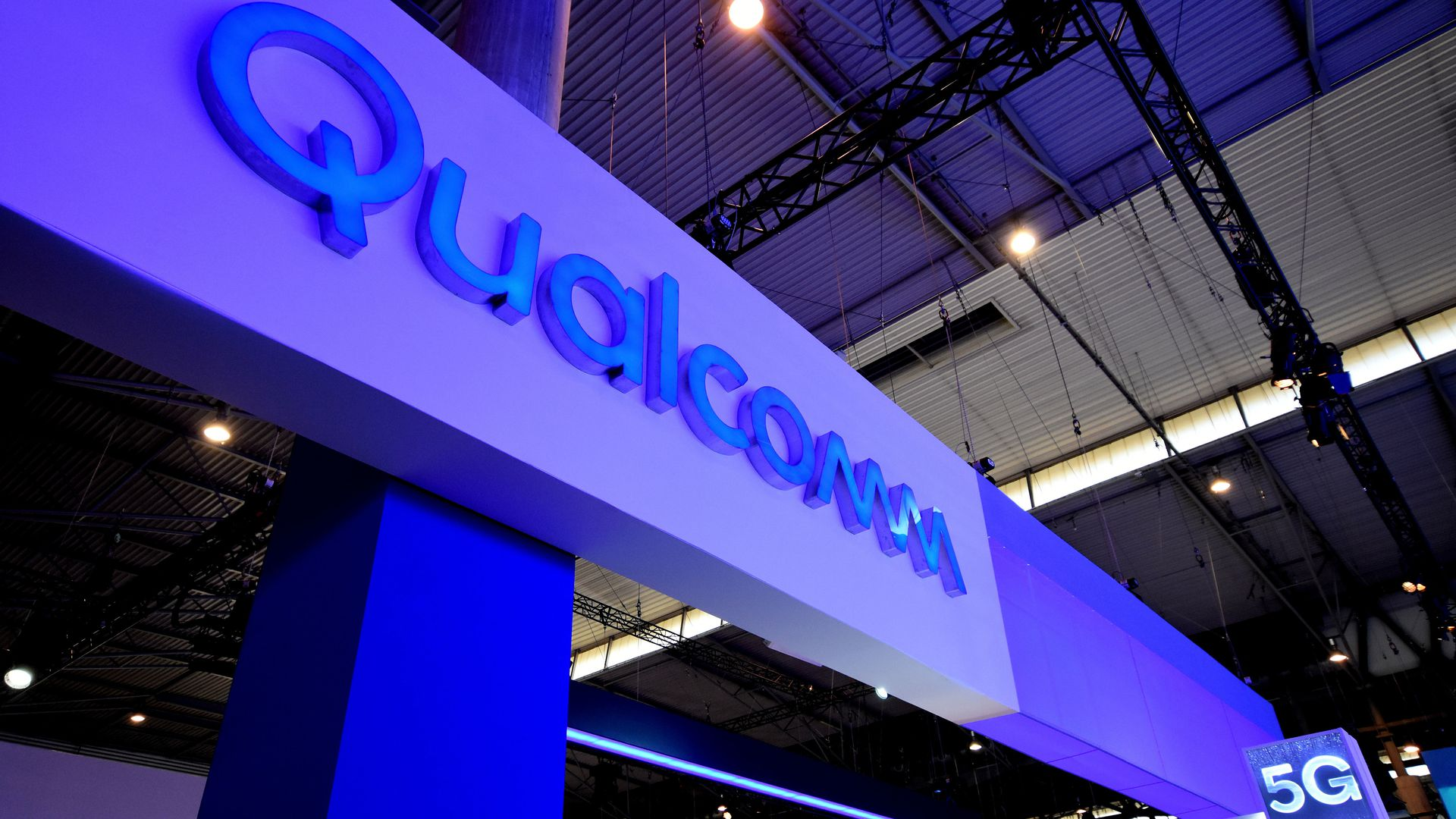 Qualcomm sign at a trade show