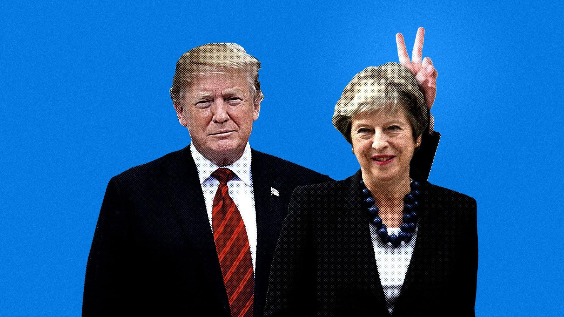 Illustration of Trump making a peace sign behind Theresa May's head