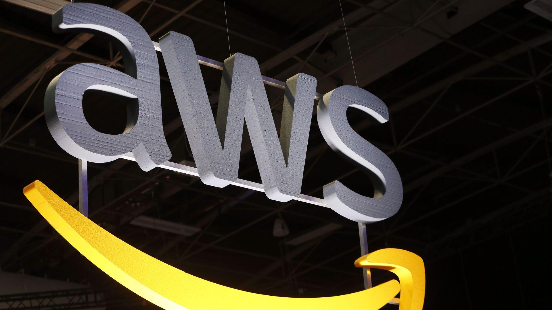 A photo of Amazon Web Services' logo