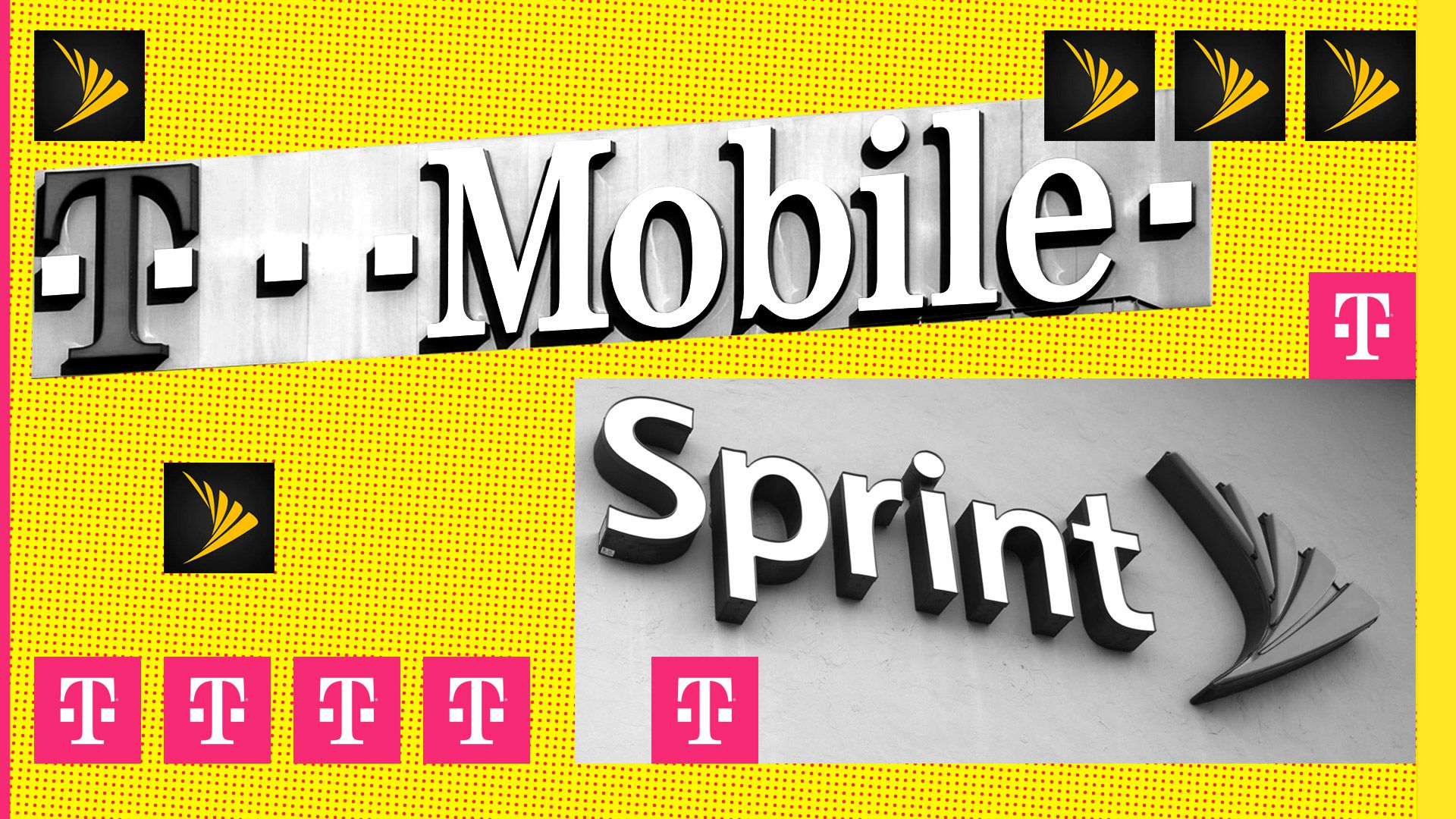 A graphic with T-Mobile and Sprint's logos