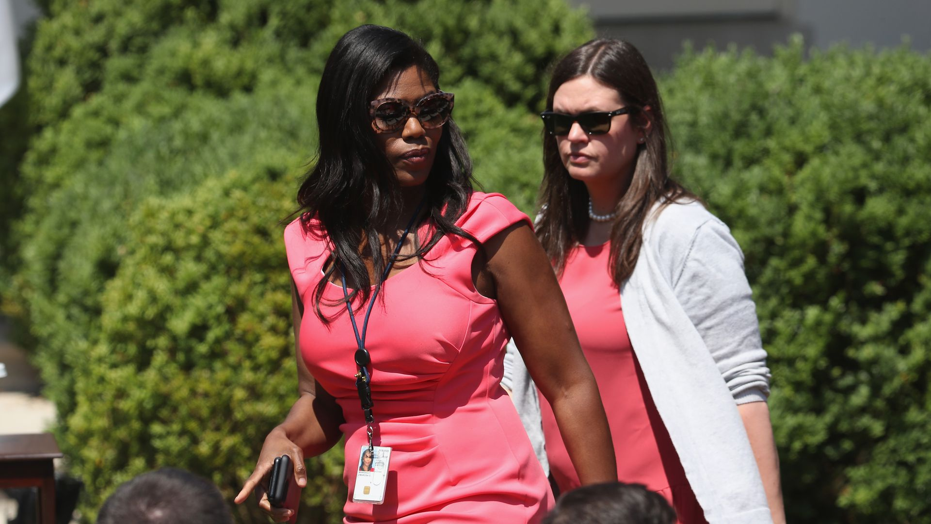 Former President Trump advisor Omarosa Manigault and White House Press Secretary Sarah Huckabee Sanders Photo: Mark Wilson/Getty Images