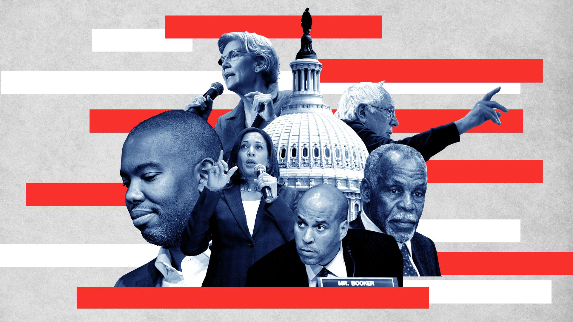 Illustration of Ta-Nehisi Coates, Kamala Harris, Cory Booker, Danny Glover, Bernie Sanders, and Elizabeth Warren around the Capitol Building