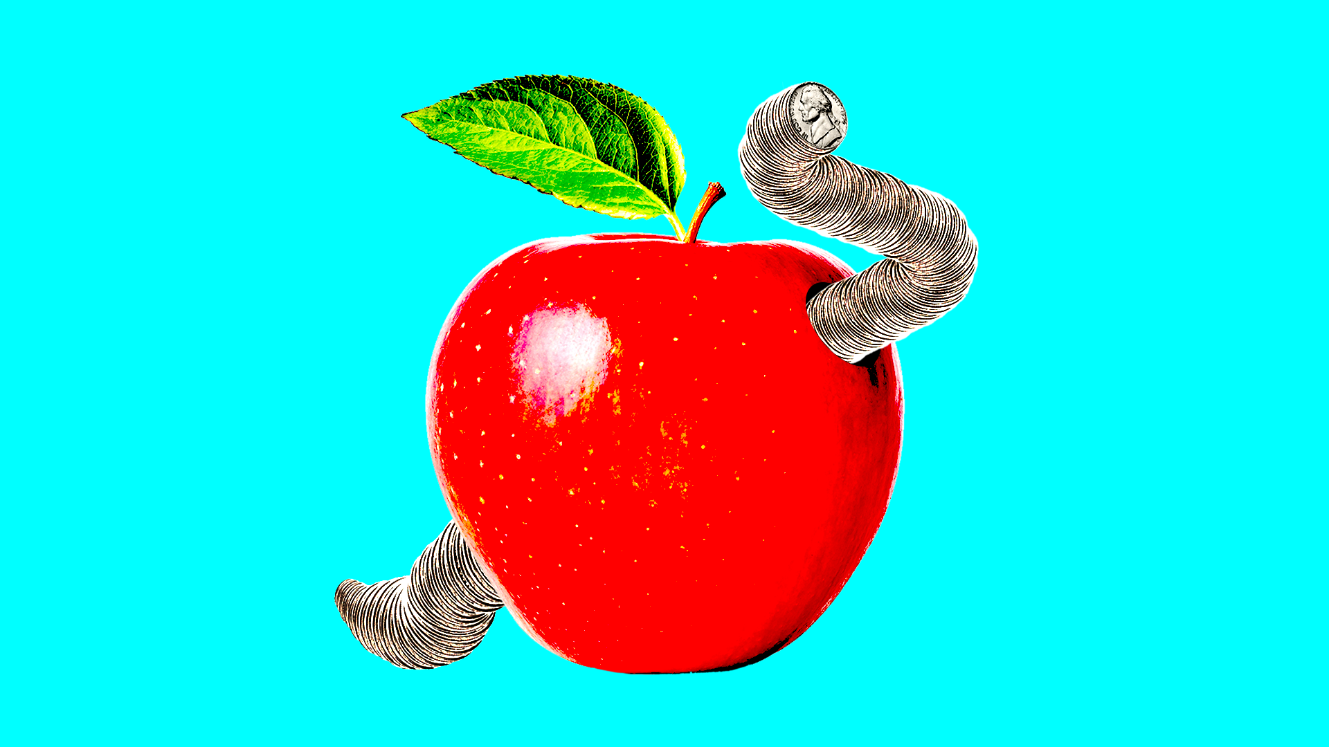 Red apple with worm in it