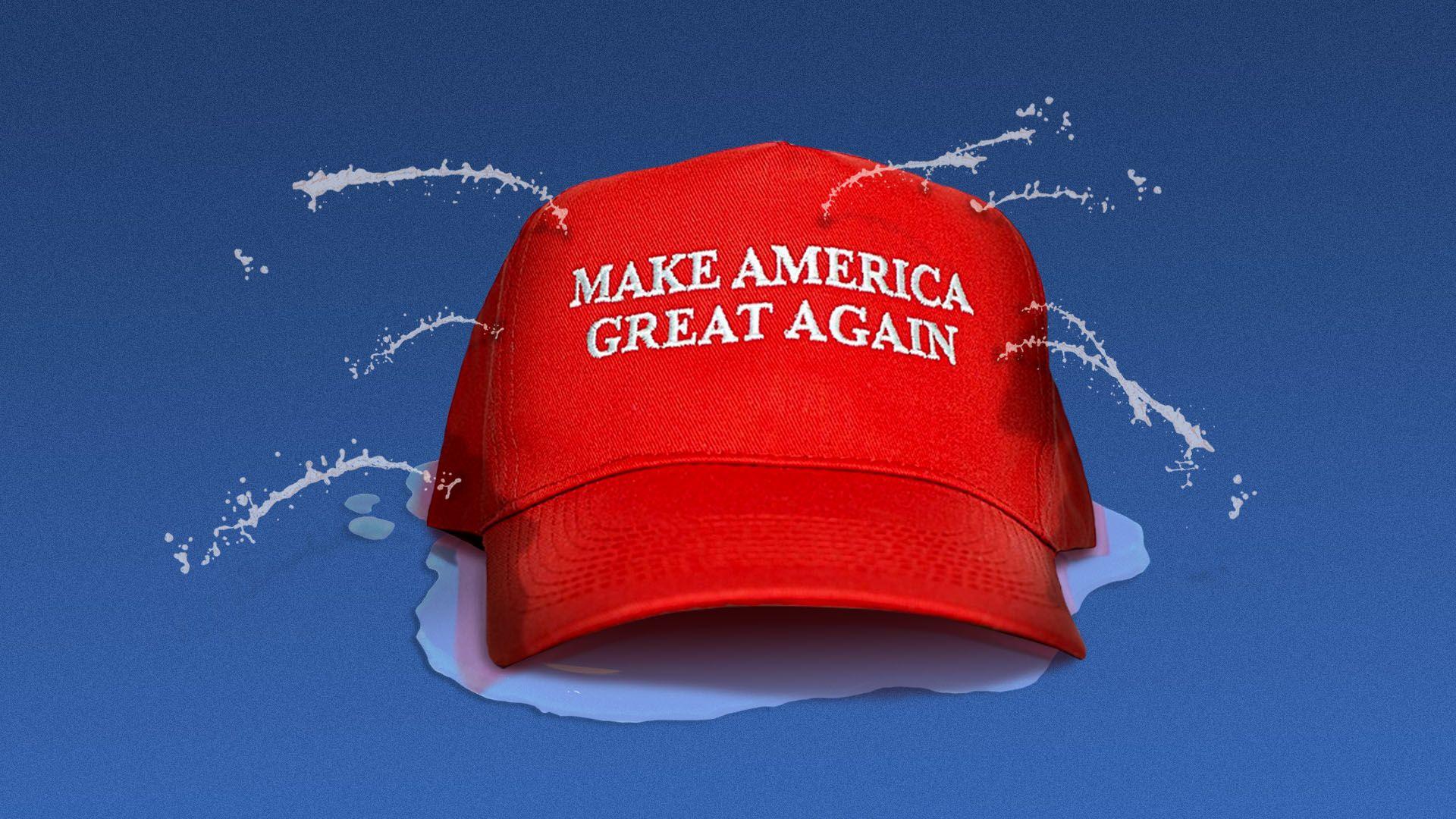 Illustration of a MAGA hat springing leaks