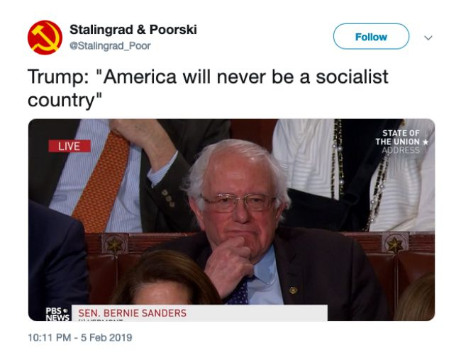 A tweet featuring Sen. Bernie Sanders reacting to President Trump's comments about socialism