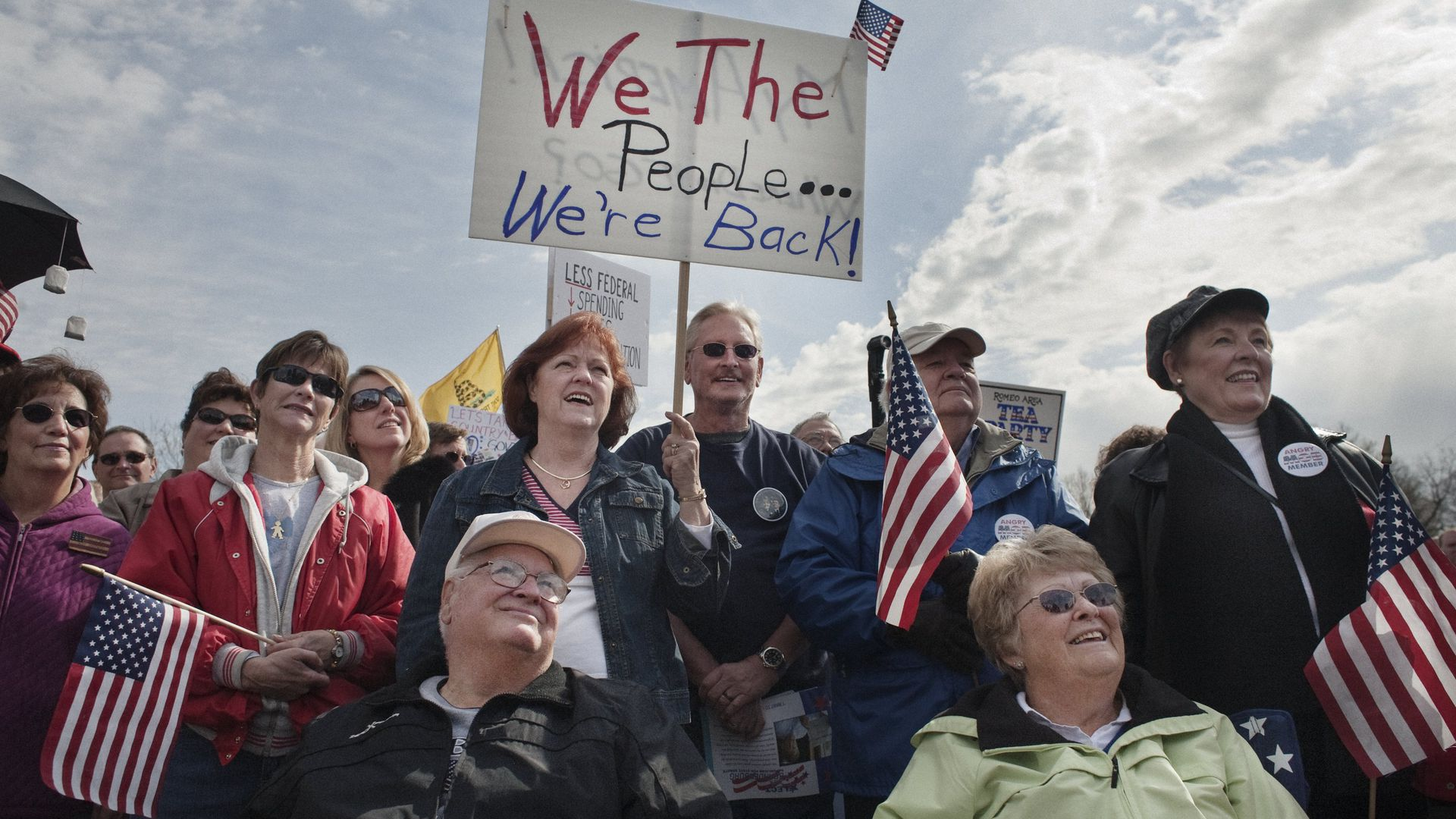 Supporters of the Tea Party movement listen to speakers at a Tea Party Express rally in 2010.