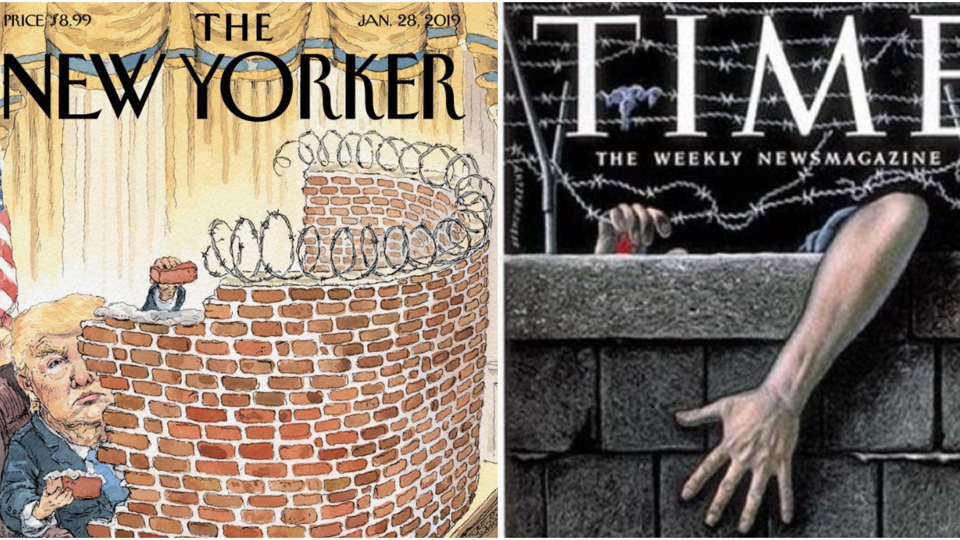 Two illustrated magazine covers, one of Trump building a brick wall at his desk and the other of the Berlin Wall with a hand reaching over the edge of it