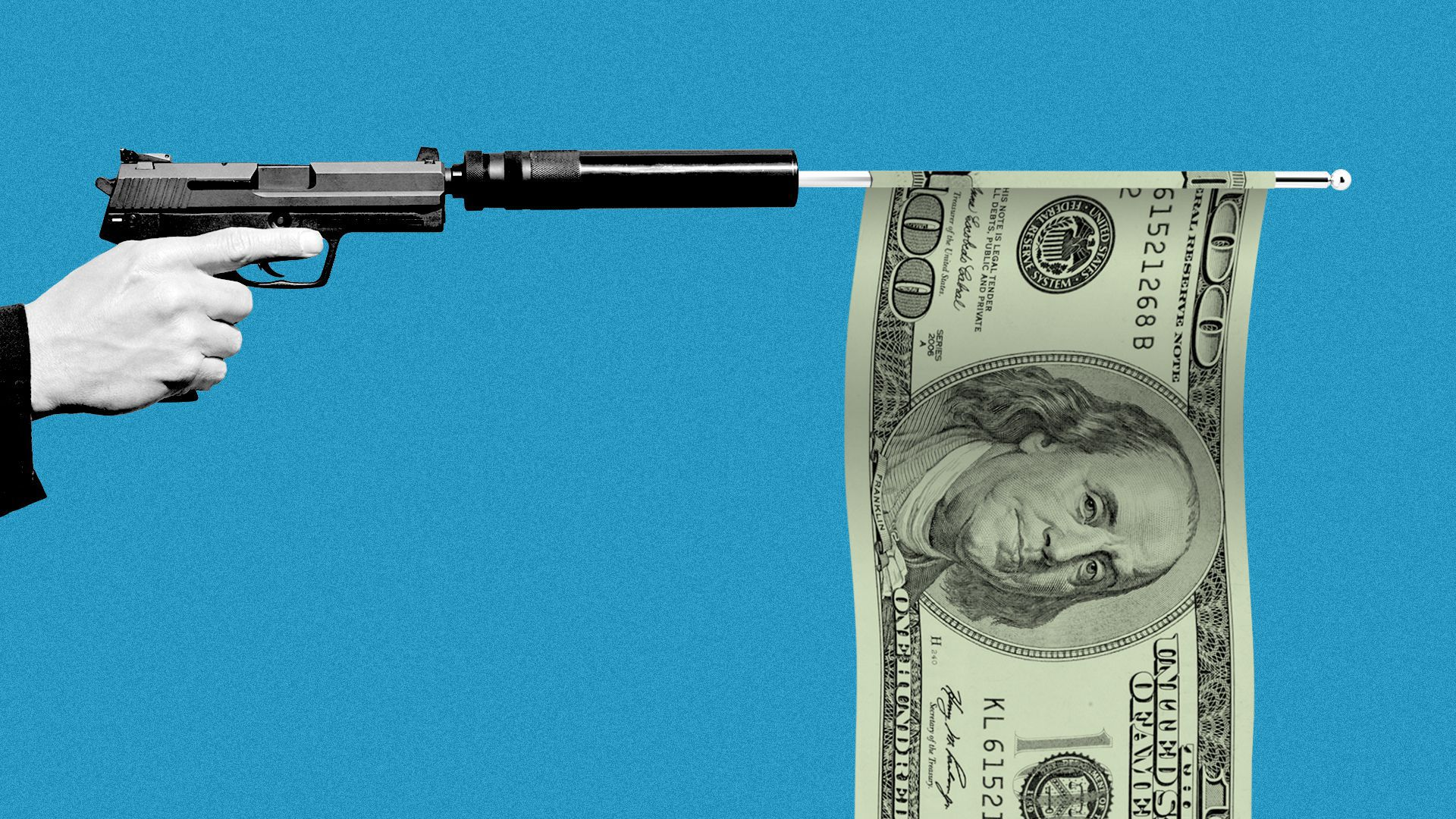 Illustration of a hand pointing a gun with a silencer, which has fired a flag in the form of a hundred-dollar bill.