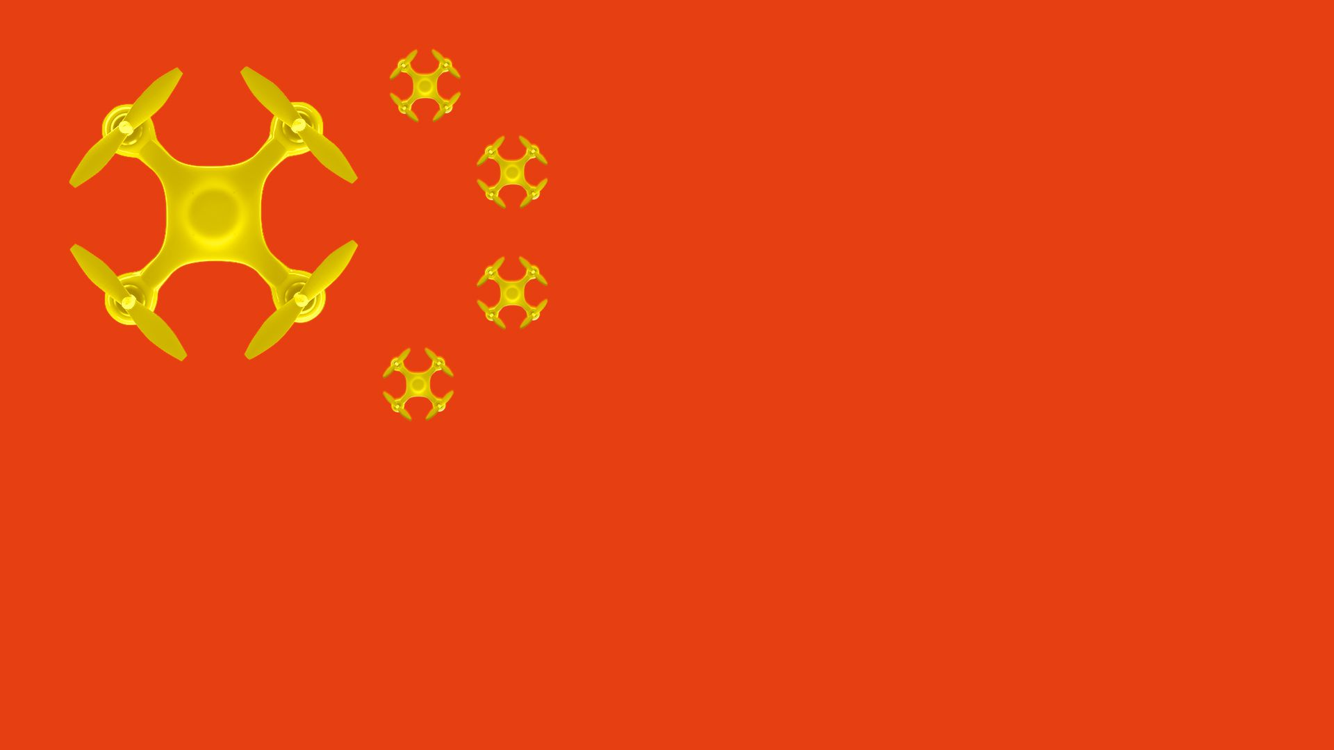 Illustration of the Chinese flag with drones in place of stars