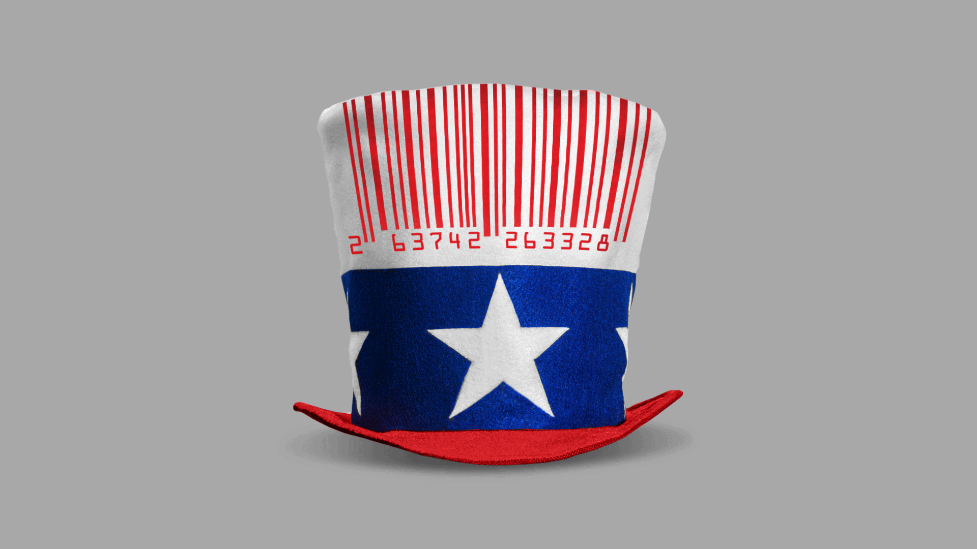 Illustration of an Uncle Sam hat with a barcode as stripes on the flat top crown area. Barcode numbers read 2 63742 263328.