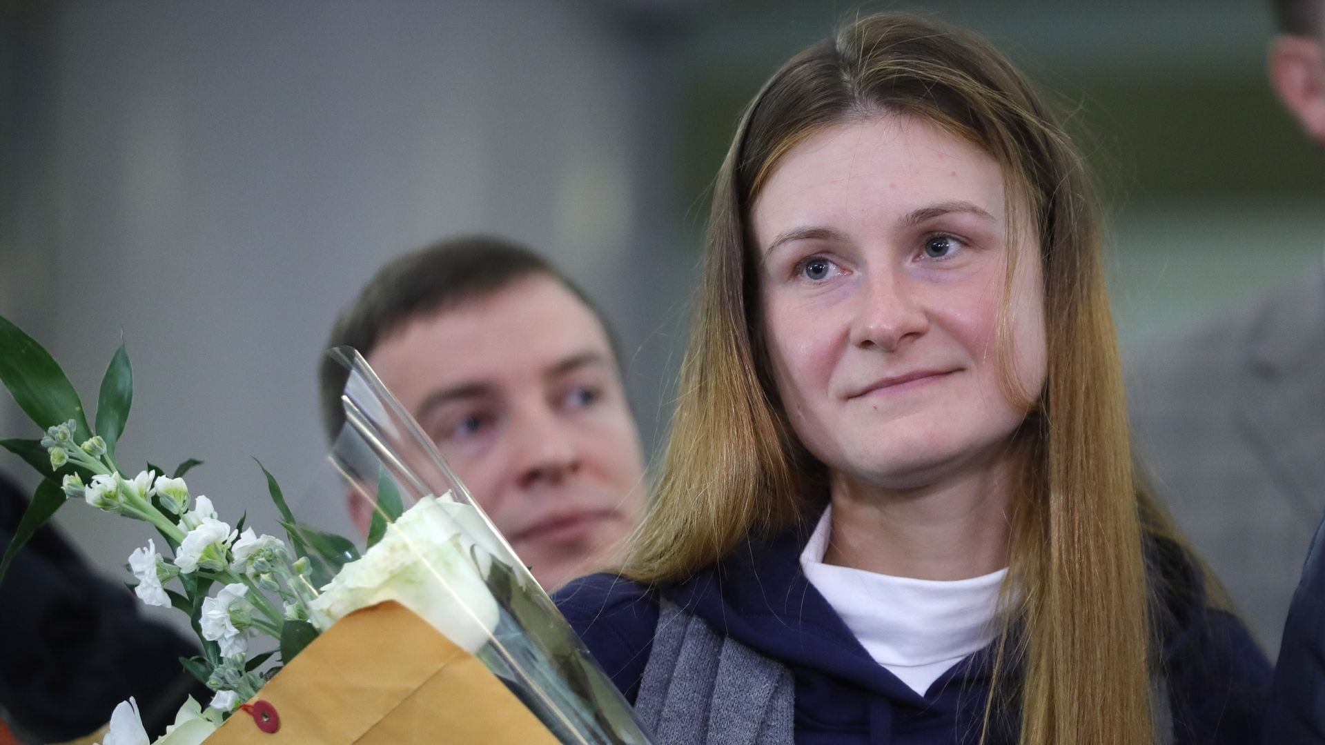 Russian citizen Maria Butina (R) is pictured at the Sheremetyevo International Airport upon arrival from the United States; Russian citizen Butina was arrested by the FBI in July 2018 in Washington DC