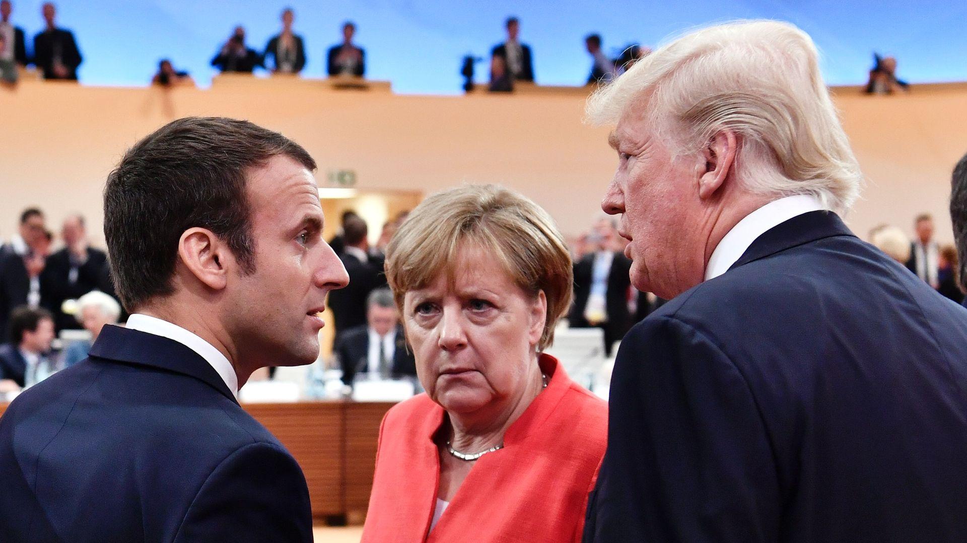 Macron, Merkel and Trump