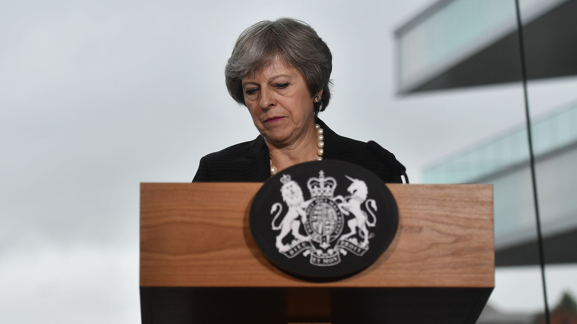 Theresa May during a speech in Belfast, Northern Ireland