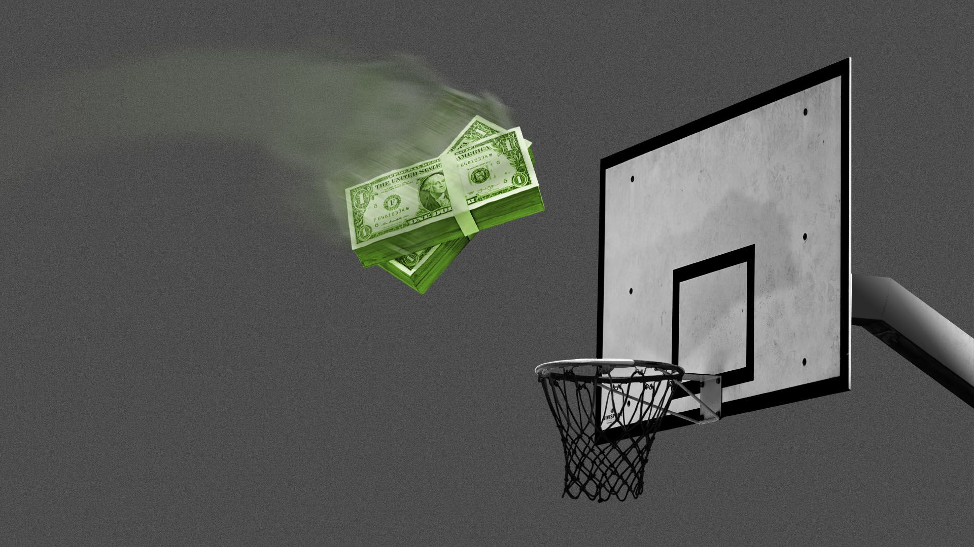 Illustration of a stack of money being thrown at a basketball hoop.