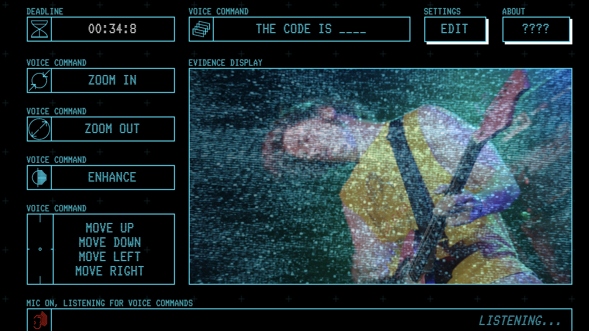 Game interface screen for enhance.computer art project