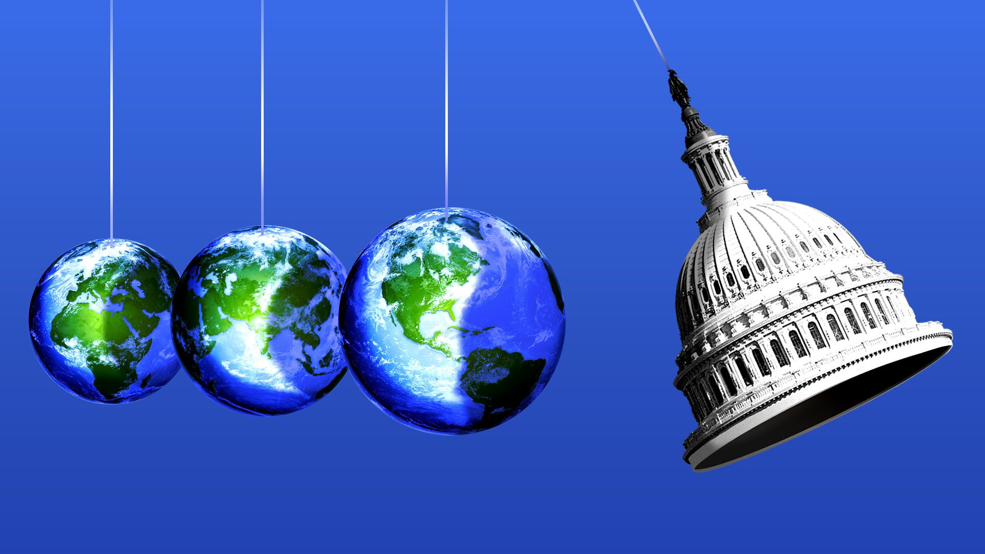 Illustration of a Newton's Cradle featuring multiple earths and the Capitol dome.