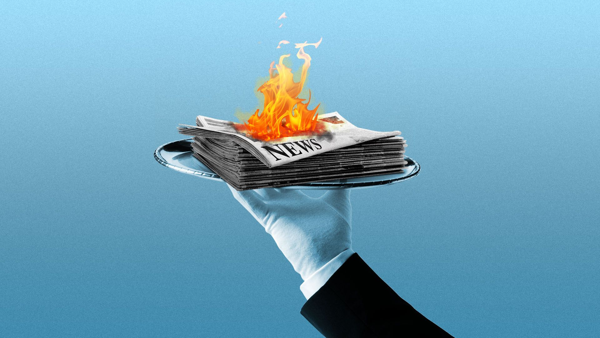 Illustration of a butler holding a silver platter with a newspaper on top that's on fire