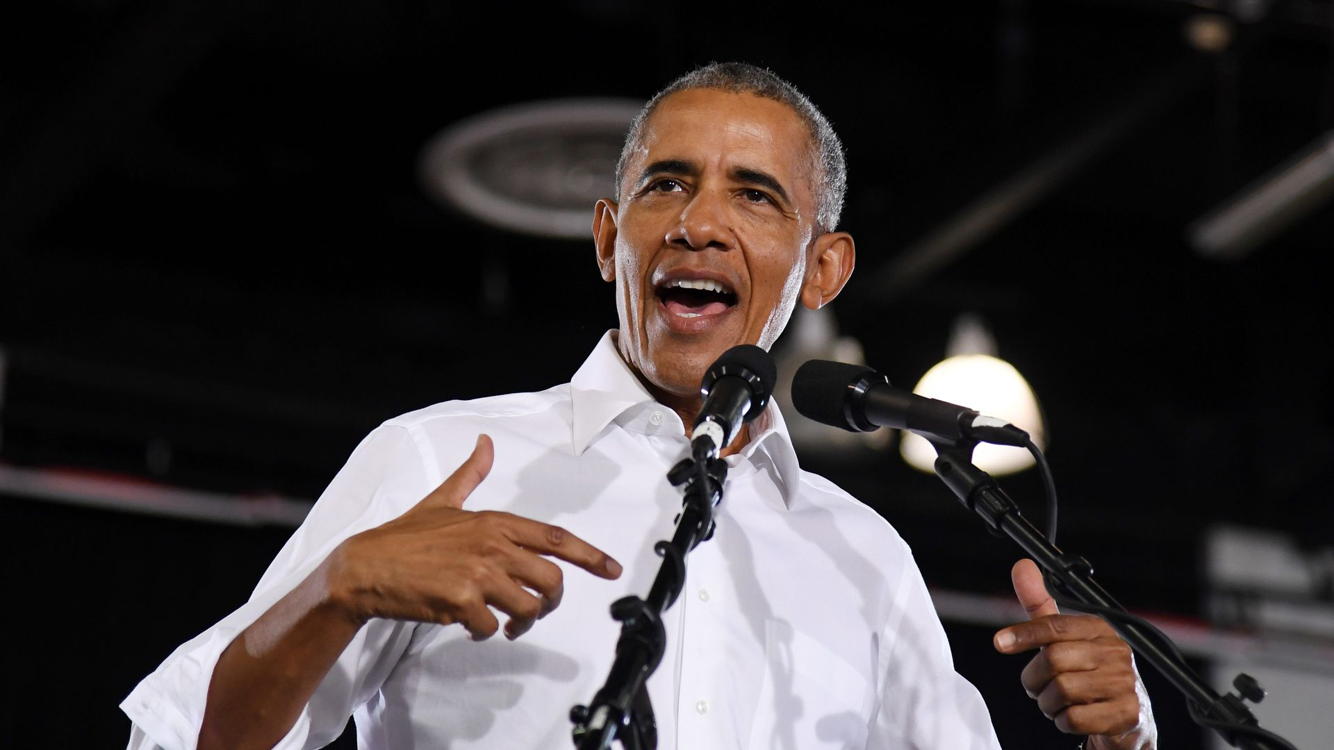 Obama at a campaign rally