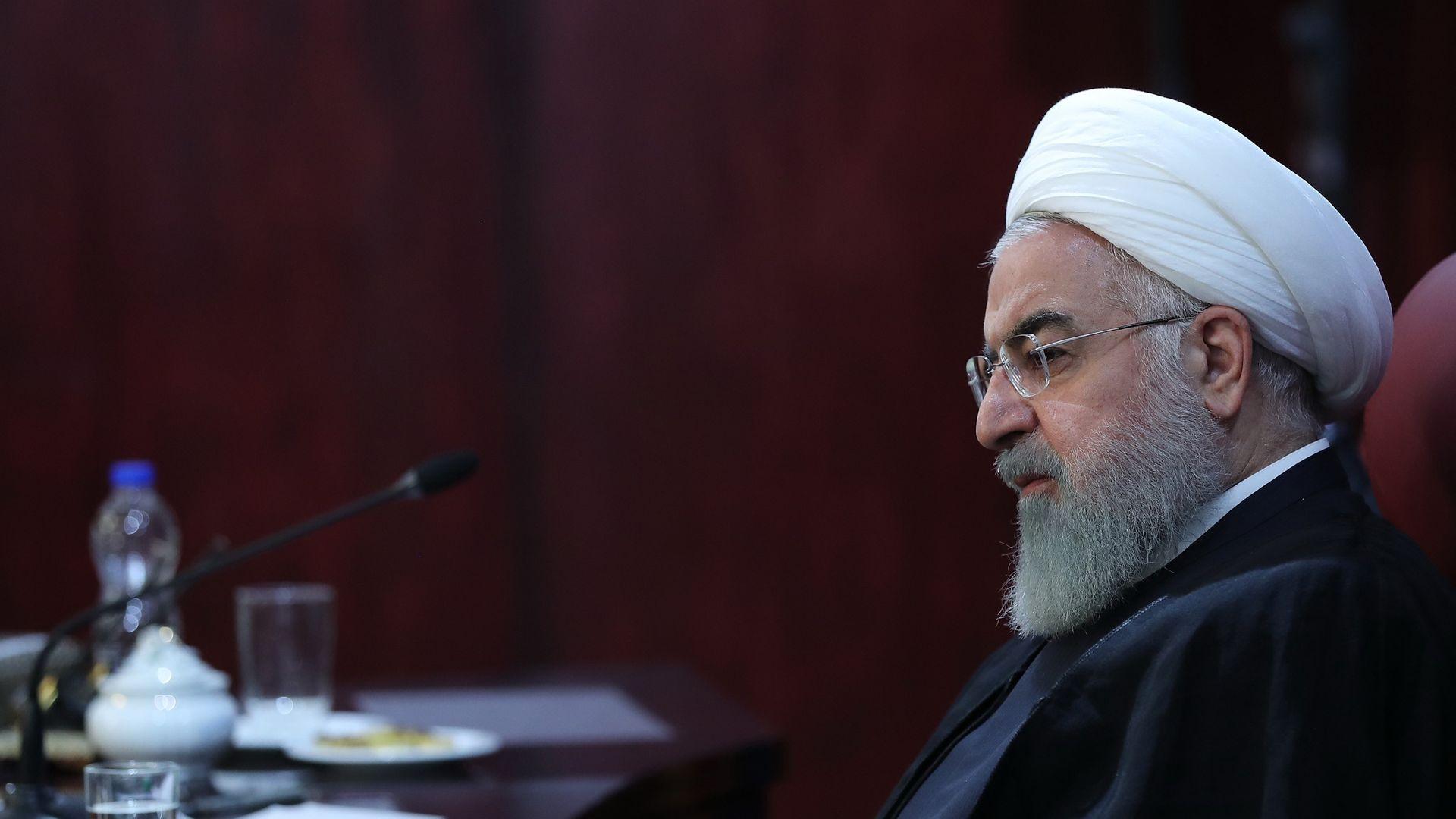 Hassan Rouhani looks menacing.