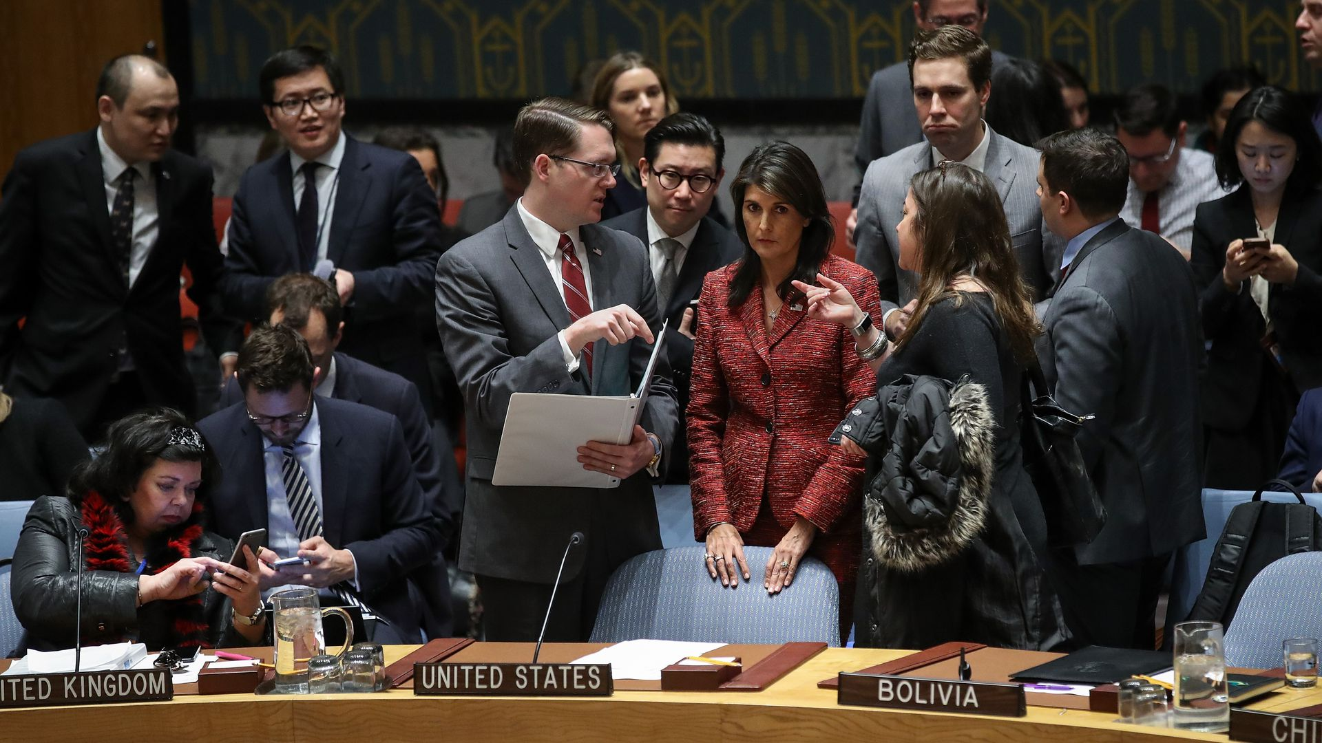 United States Ambassador to the United Nations Nikki Haley confers with members of the U.S. delegation at the start of a United Nations Security Council meeting regarding the situation in Syria