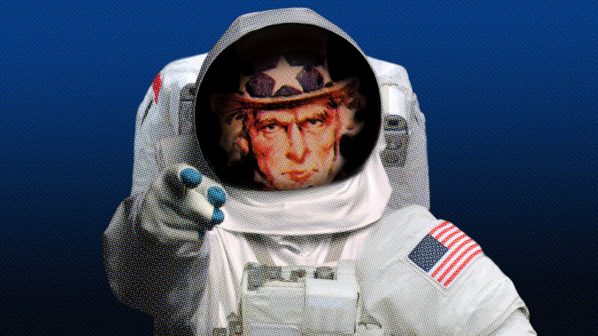 Illustration of Uncle Sam in spacesuit.