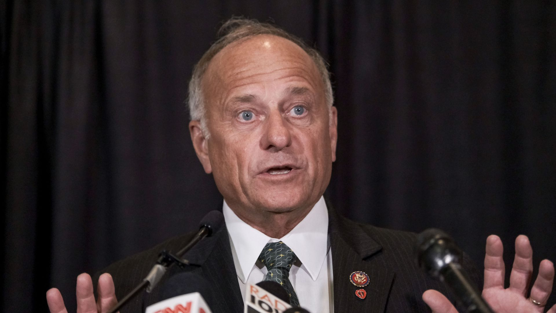 Rep. Steve King (R-IA) speaks at a press conference on abortion legislation on August 23