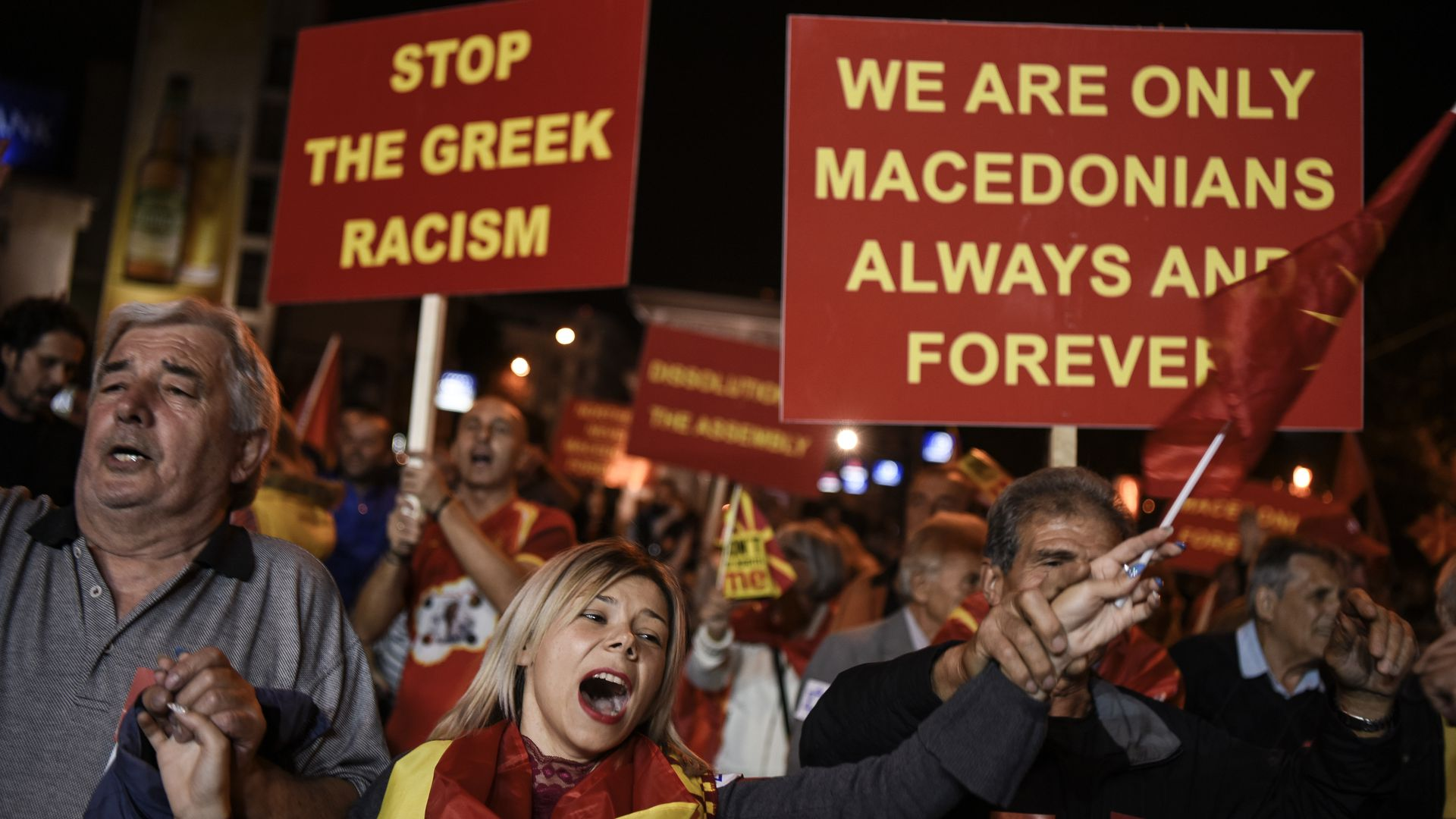 Supporters of a boycott for the name-change referendum celebrate in front of the Parliament in Skopje on Sunday. Photo: Armend Nimani/AFP/Getty Images