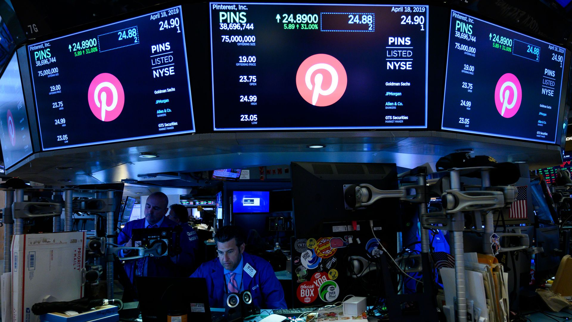 Photo of NYSE stock exchange during Pinterest IPO.