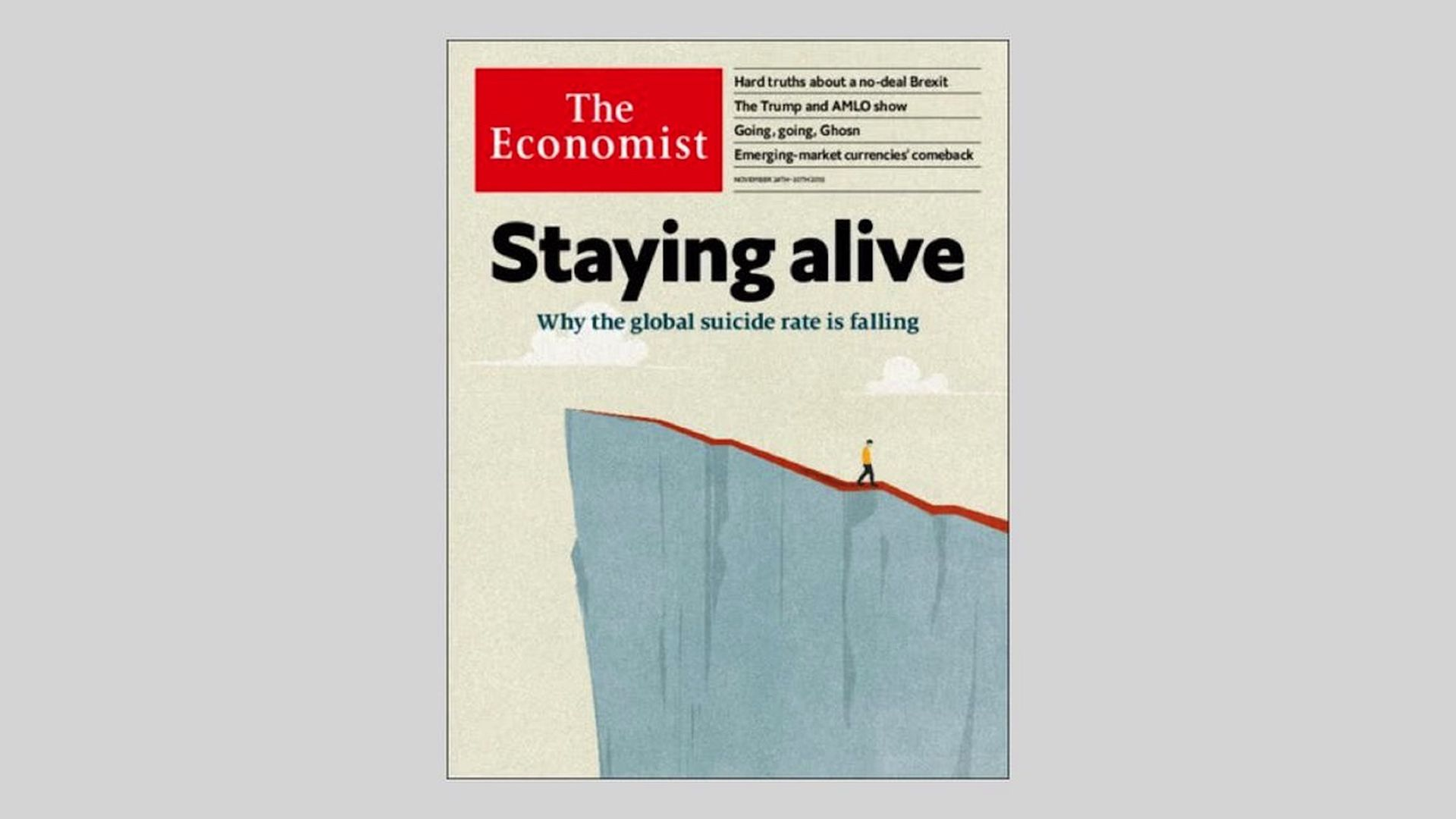 "Cover of The Economist magazine with headline ""Staying Alive"" on top"