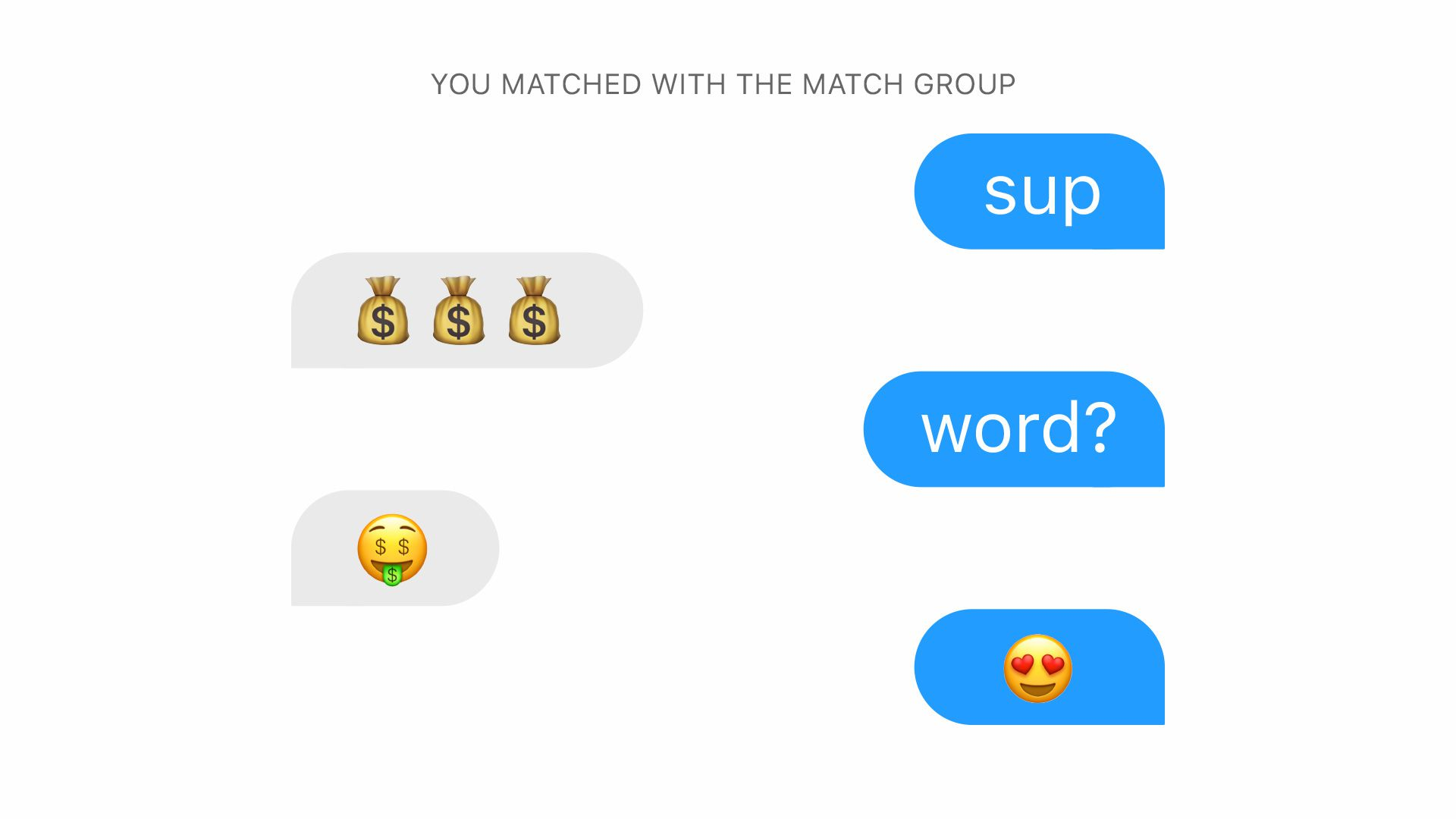 A stylized chat in the Tinder service.
