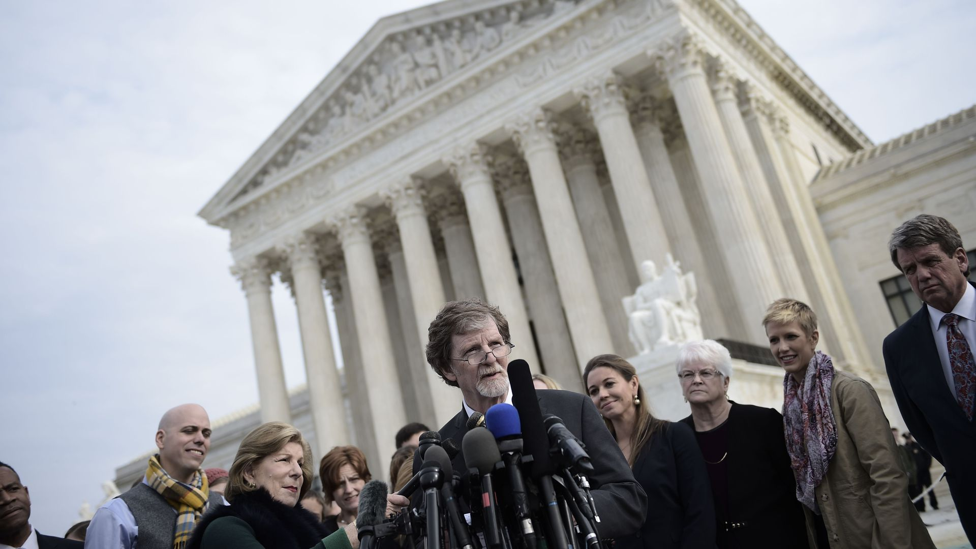 Jack Phillips, owner of 'Masterpiece Cakeshop' in Colorado outside the U.S. Supreme Court. Photo: Brendan Smialowski/AFP/Getty Images