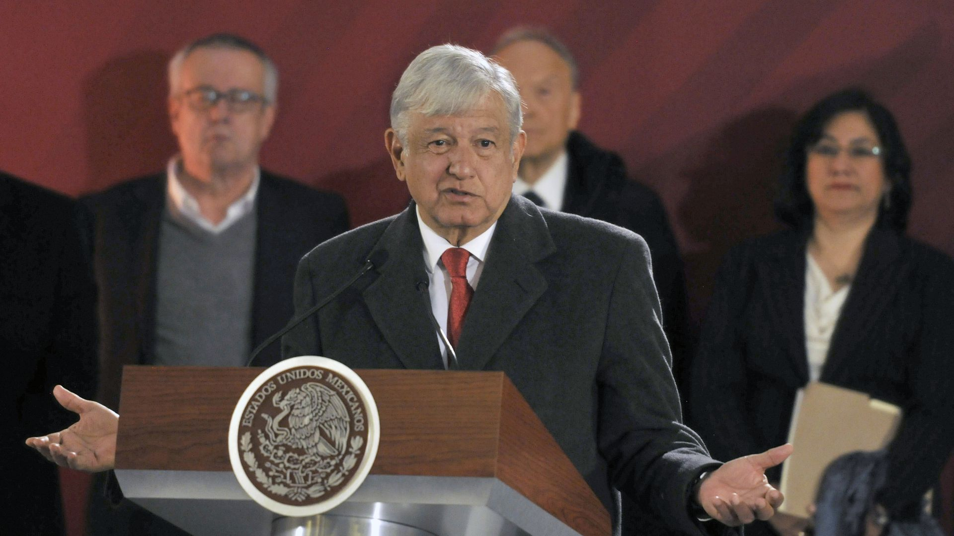 President of Mexico Andrés Manuel López Obrador speaks during the morning press conference at National Palace in Mexico City.