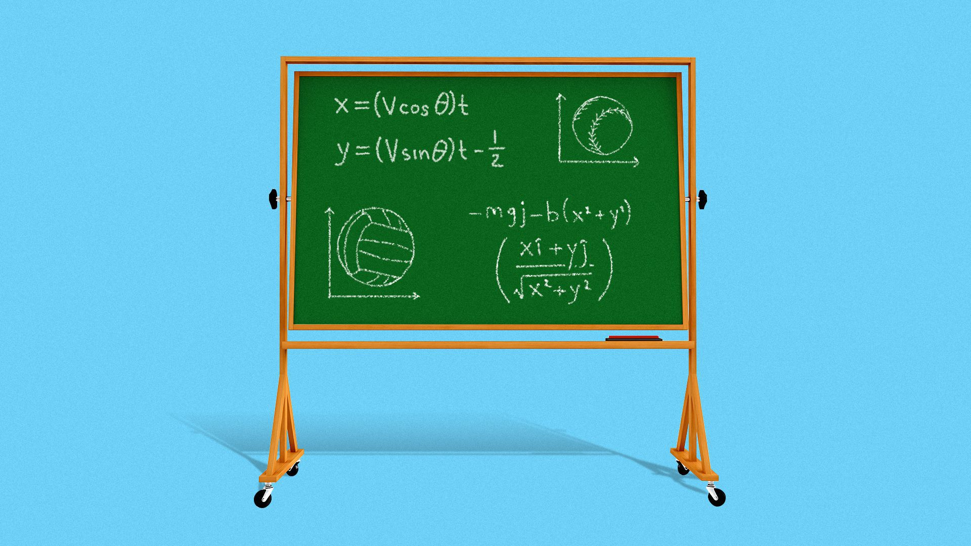 Illustration of a chalkboard with equations, a volleyball and a softball