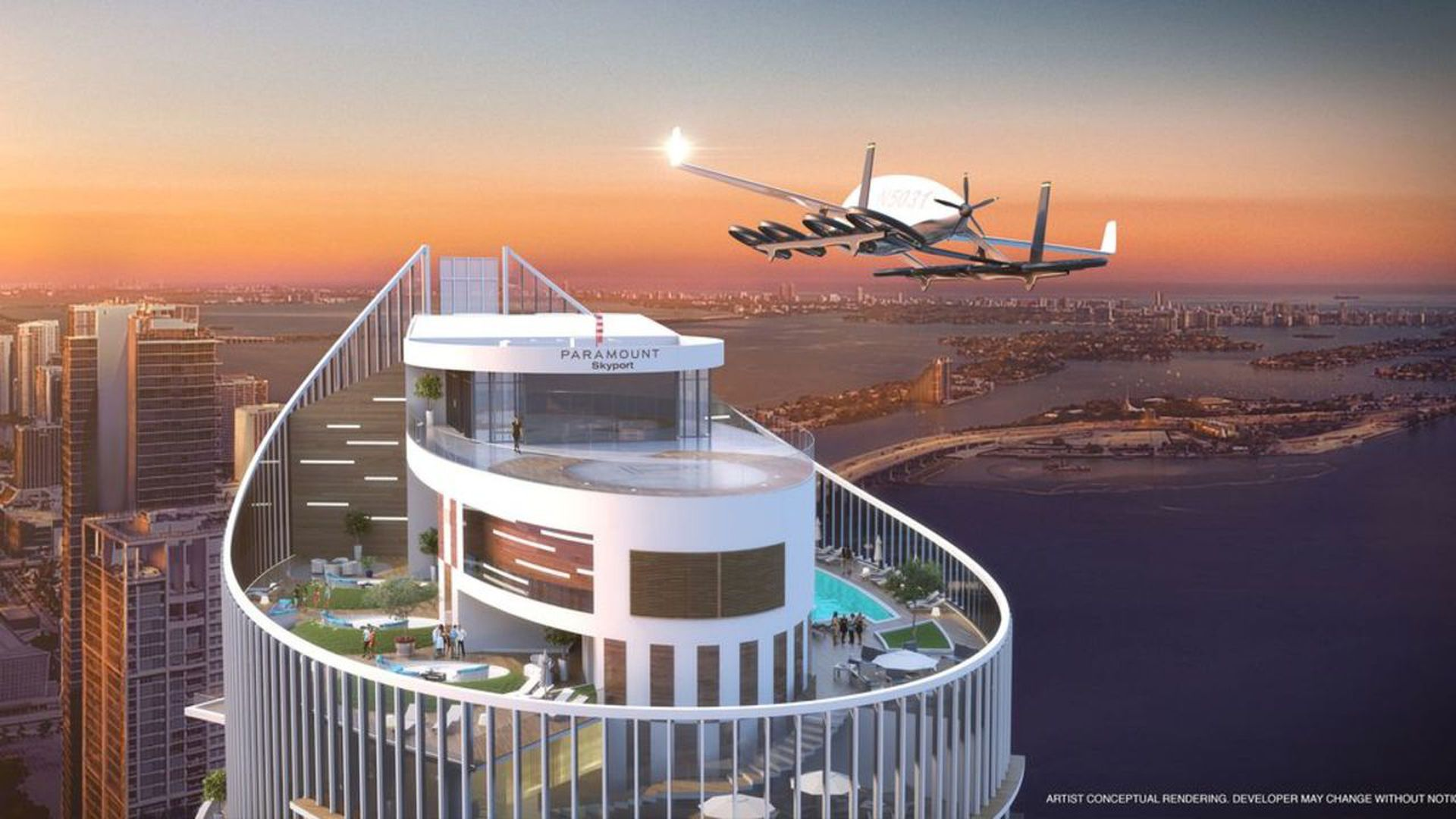 Rendering of flying car skyport atop the Paramount Miami Worldcenter. Illustration: World Satellite Television News/Paramount Miami Worldcenter