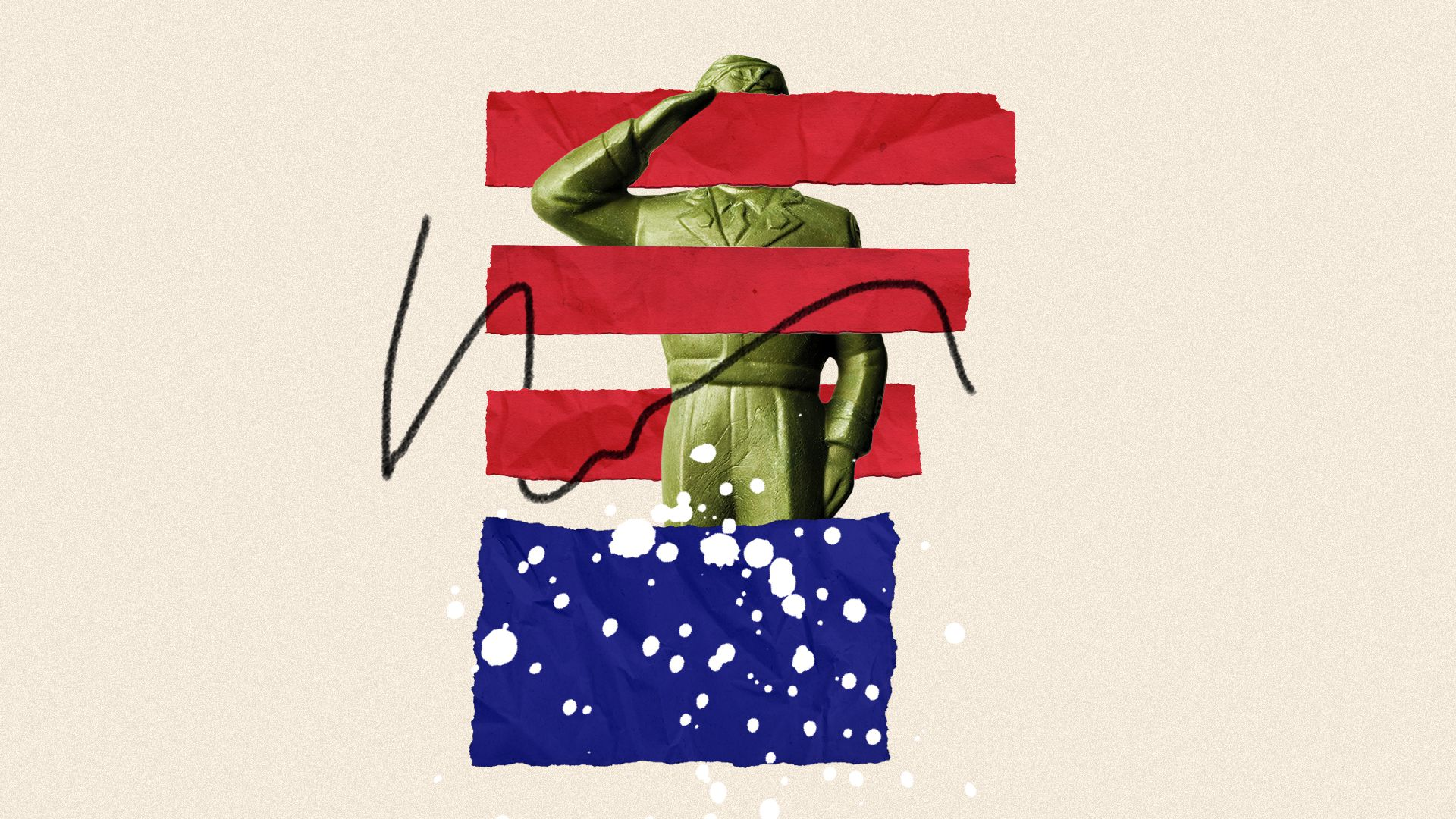 Illustrated collage of a deconstructed American flag and a saluting toy soldier.