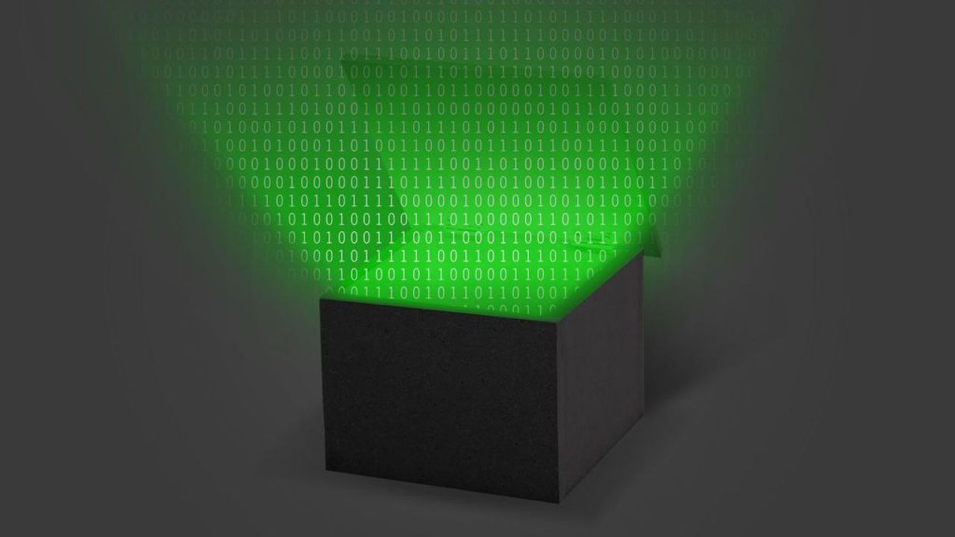 Illustration of a box that is emitting binary numbers