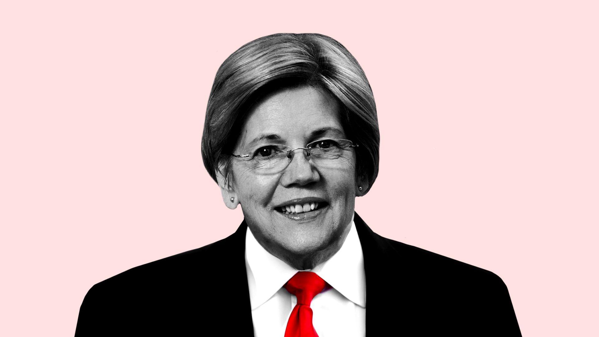 Illustration of Elizabeth Warren's head on Trump's body