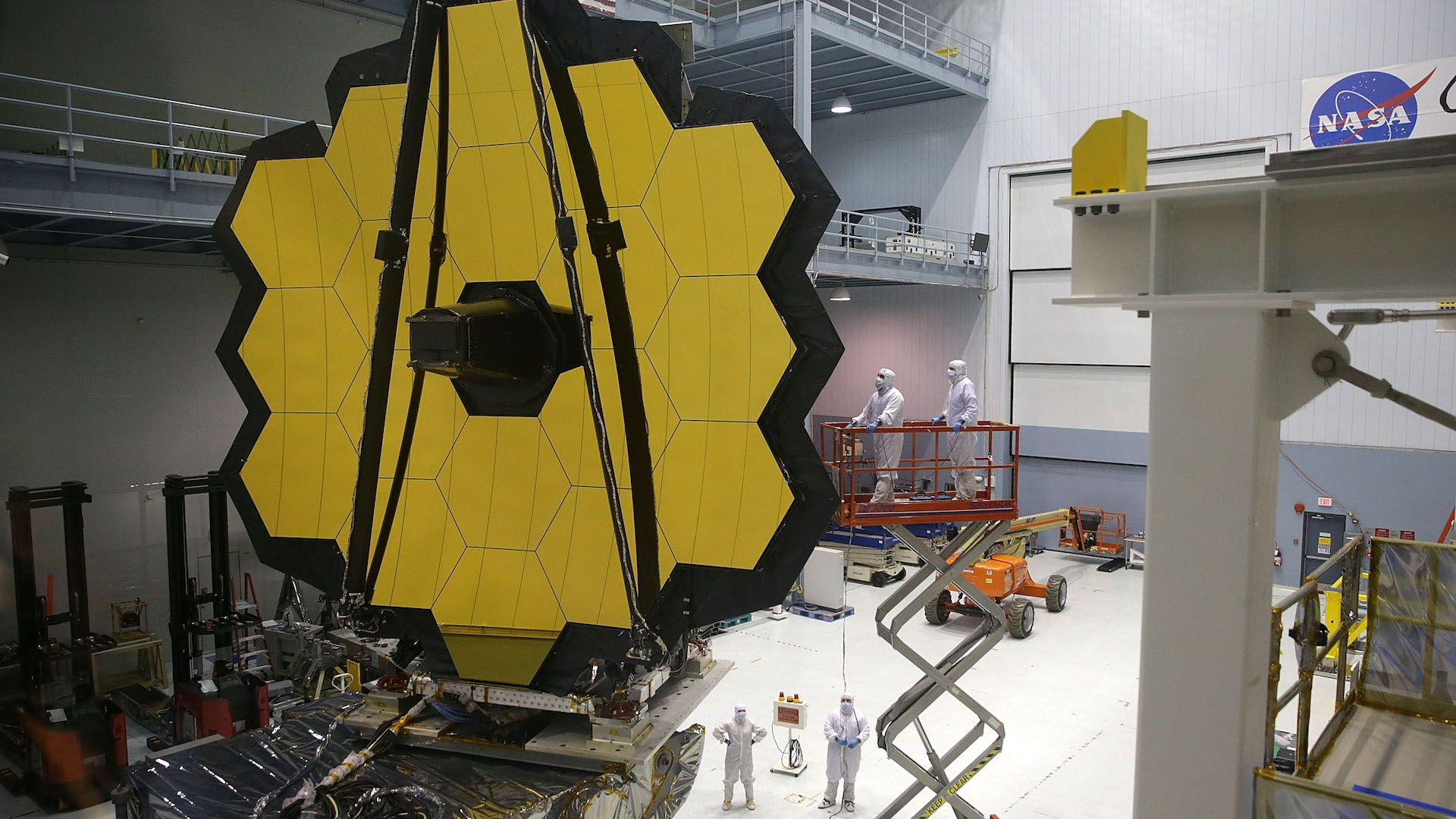 Engineers work on the James Webb Space Telescope at Goddard Space Flight Center in 2016.