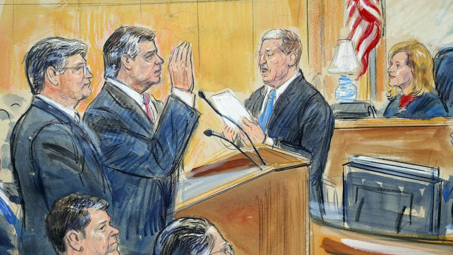 A court drawing of Paul Manafort raising his right hand.