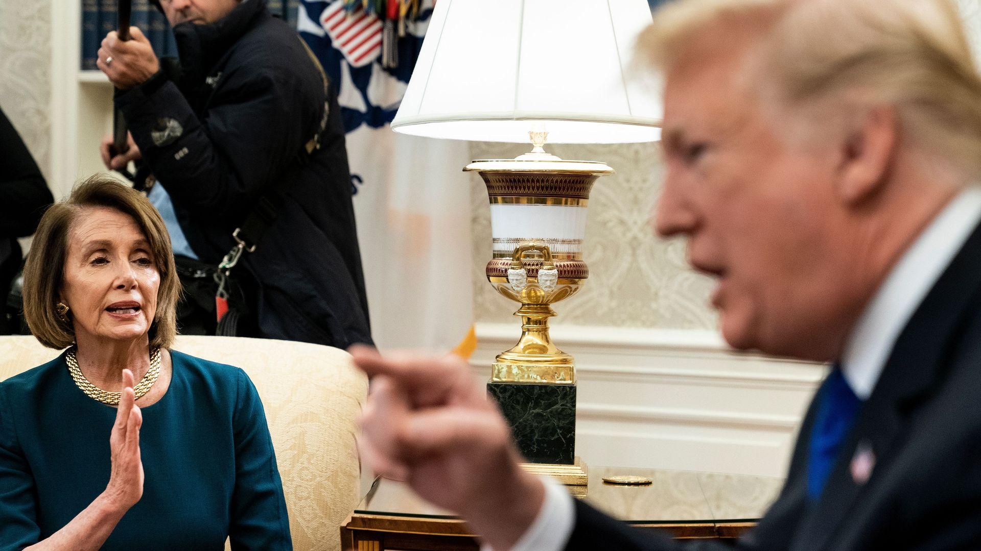 House Speaker Nancy Pelosi (D-CA) and US President Donald Trump argue.