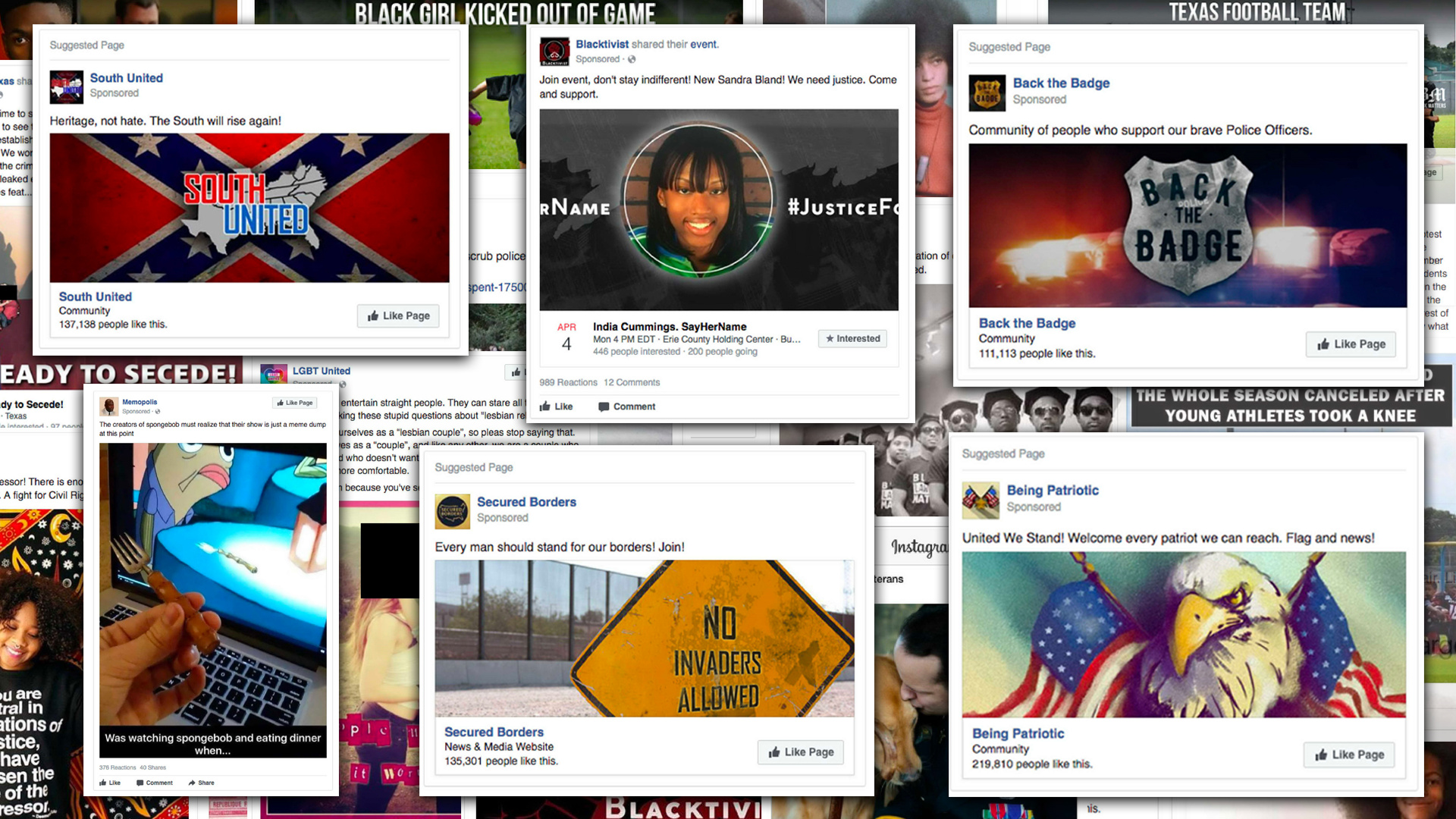 Six Facebook ads in the foreground, and more in the background