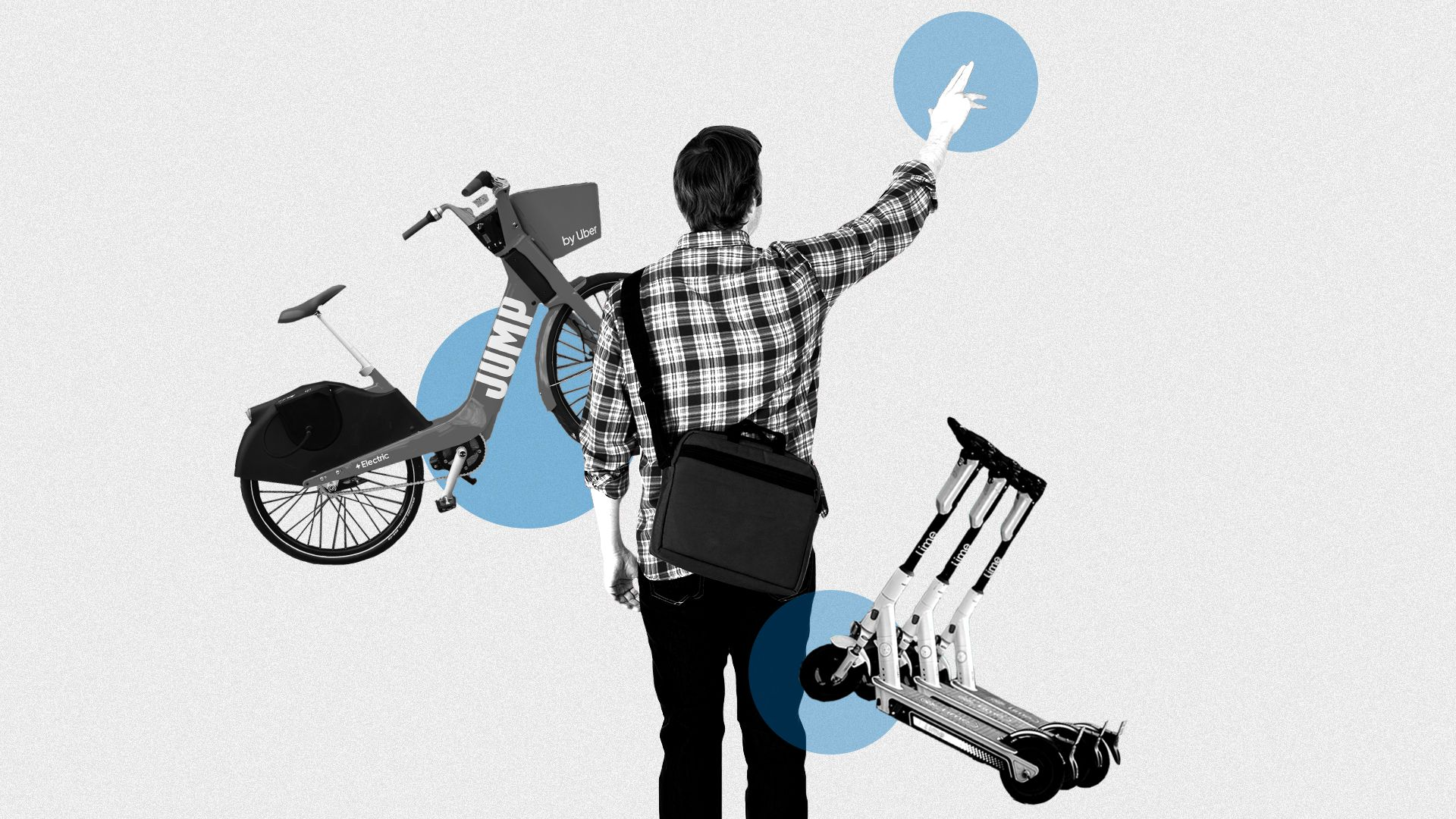 Illustrated collage of a man hailing a cab, a share bike and an e-scooter