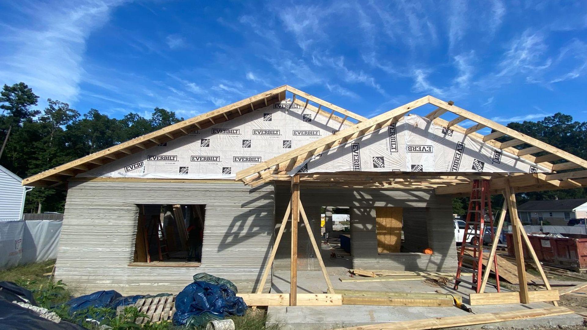 A 3D home under construction in Richmond, Virginia.