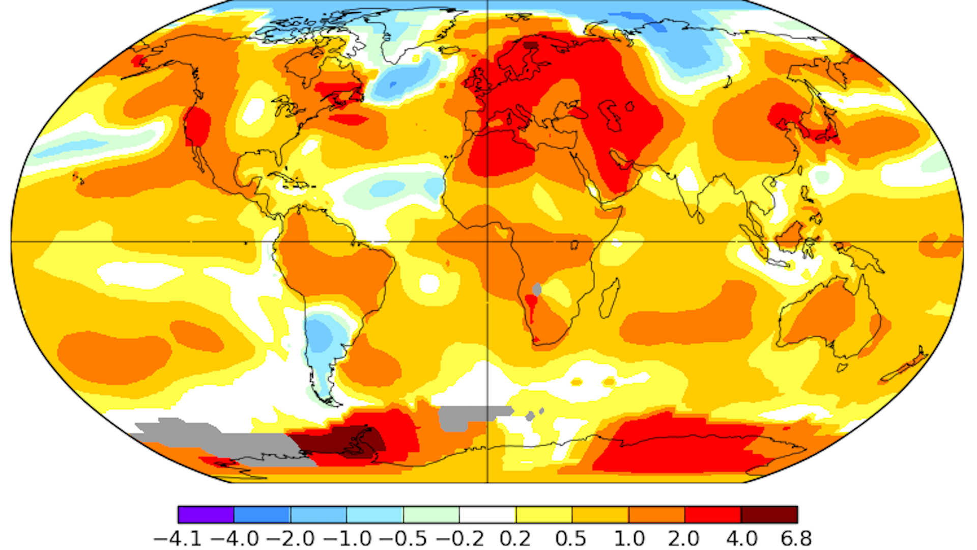 Global surface temperature anomalies during the month of July 2018.