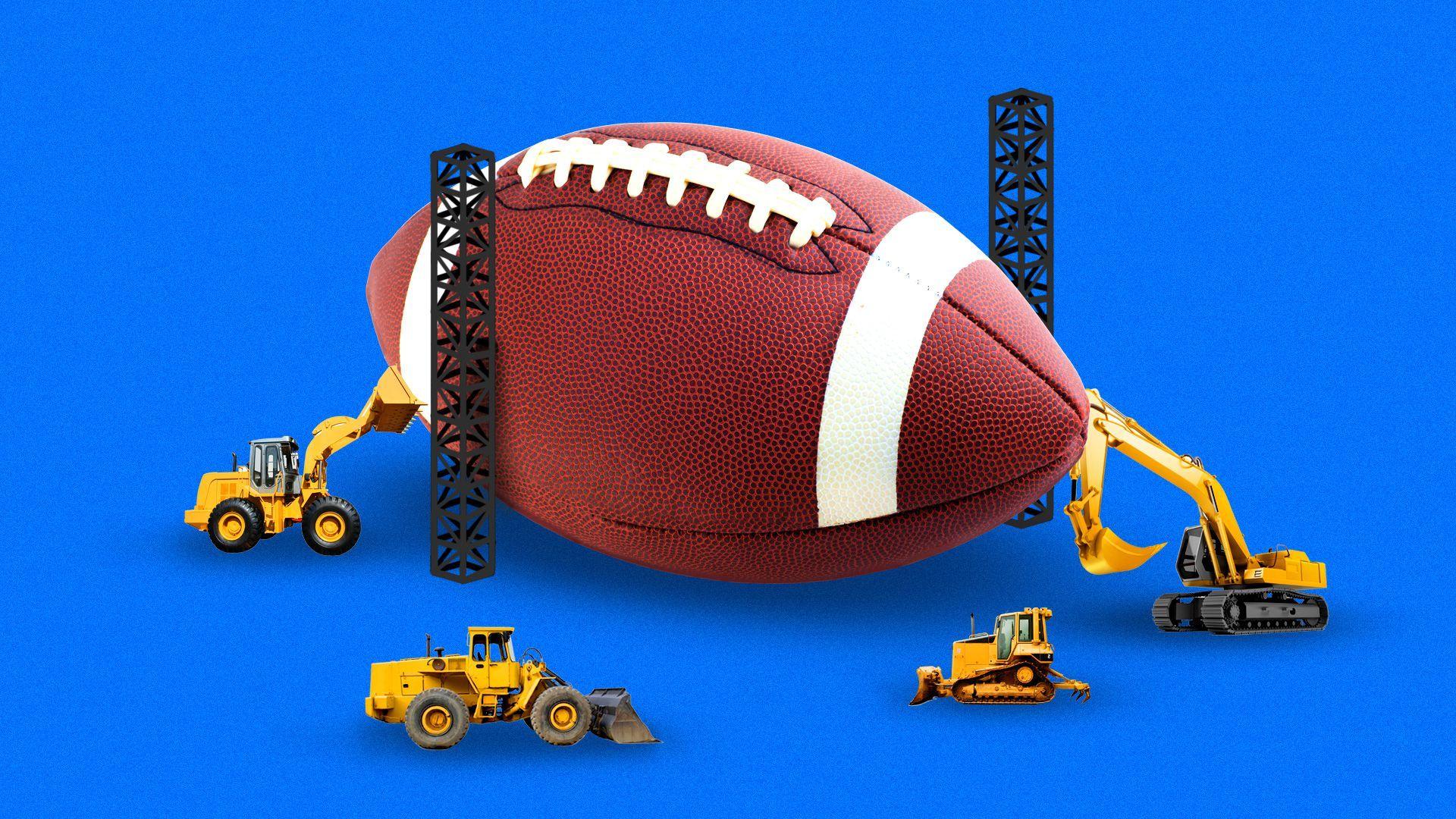 A football under construction.