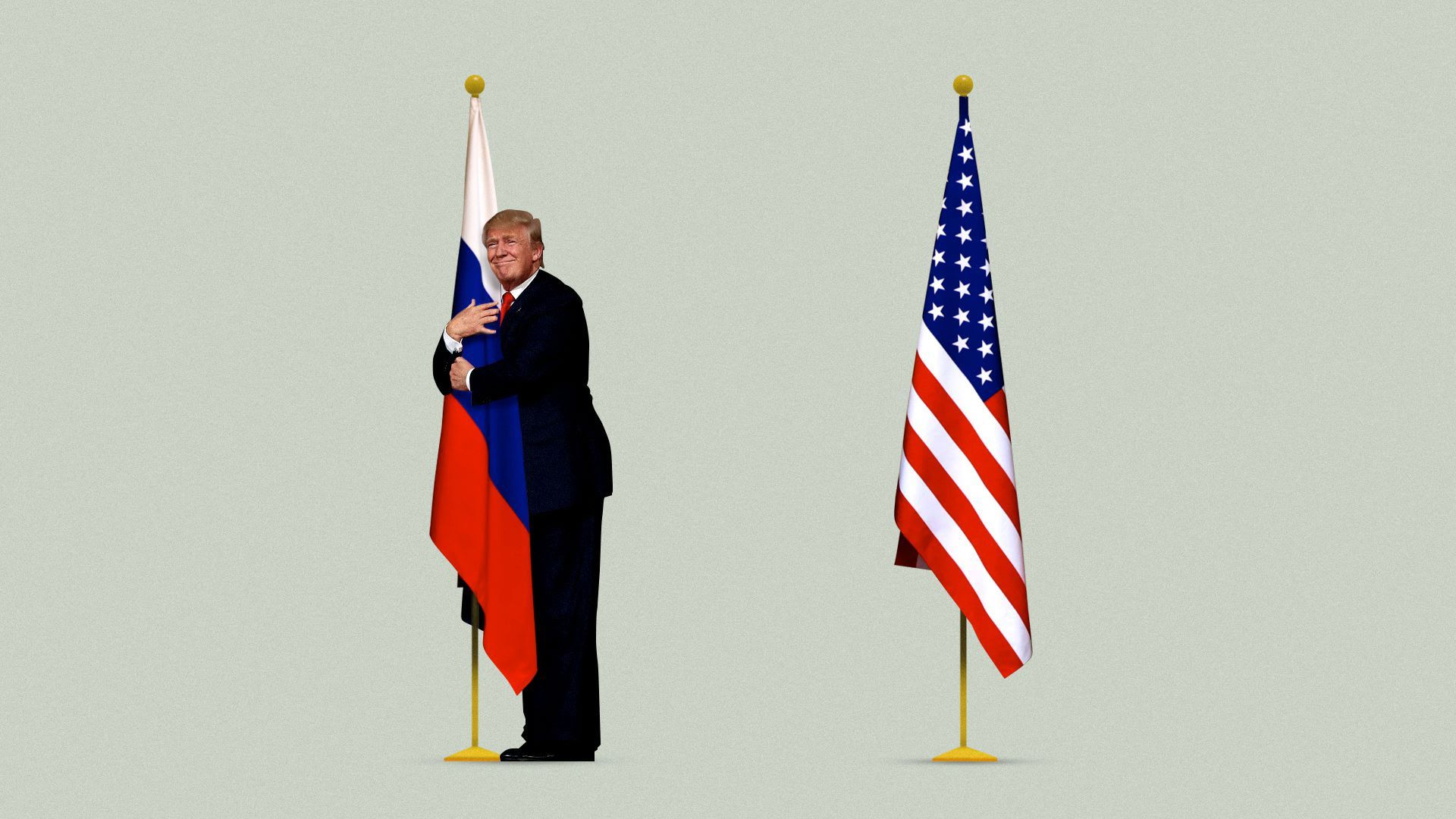 Illustration of Trump hugging a Russian flag while an American flag stands behind him