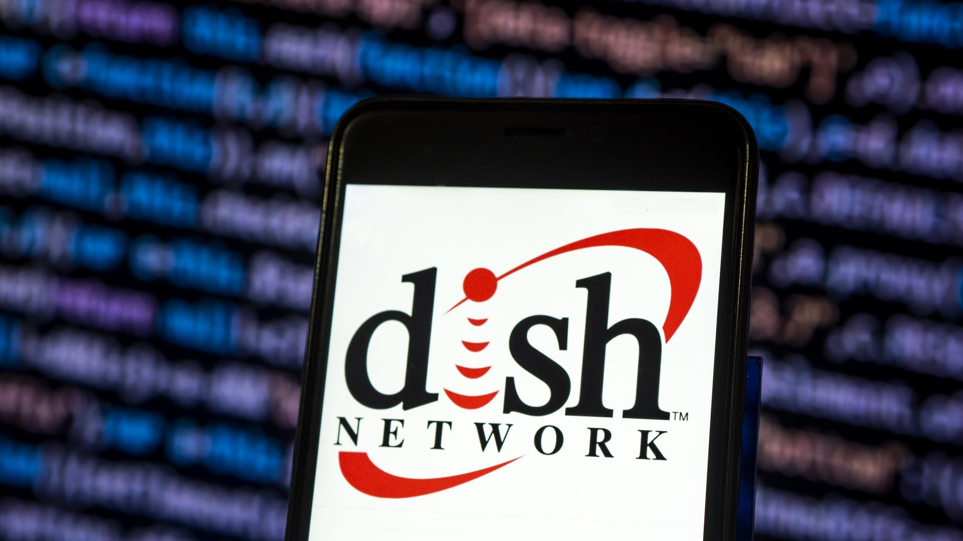 Photo of Dish Network logo on a smartphone screen