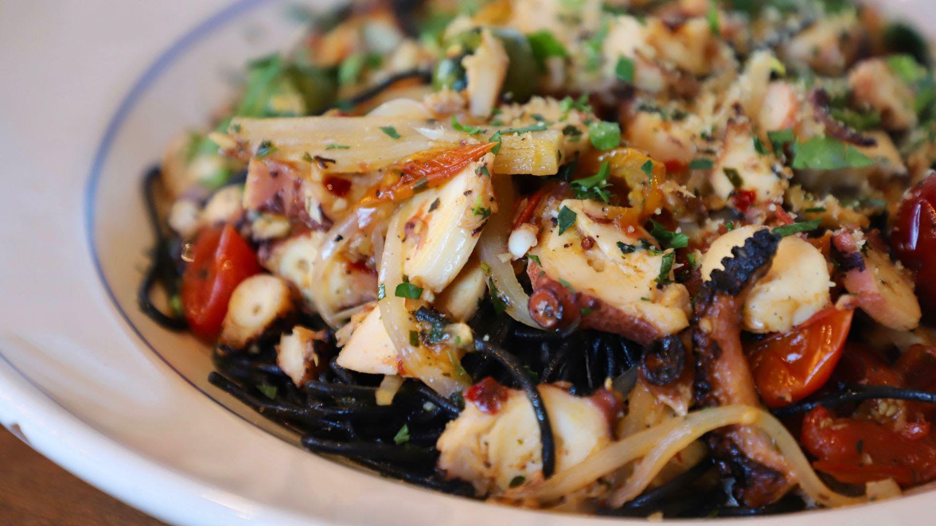 The Spaghetti al Negro Con Polpo at Casa Santo Stefano.