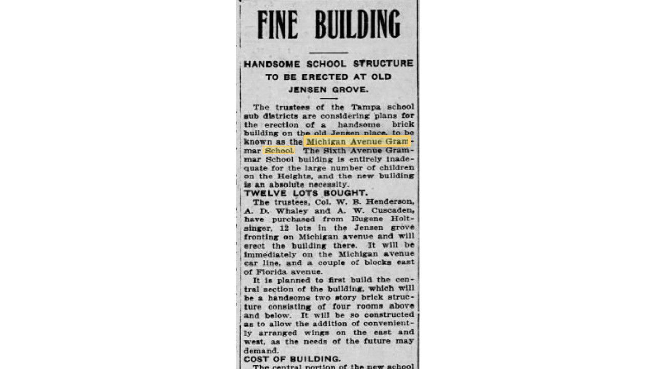 A newspaper clipping from the Tampa Tribune describing the planned construction of the Michigan Avenue Grammar School in 1905.
