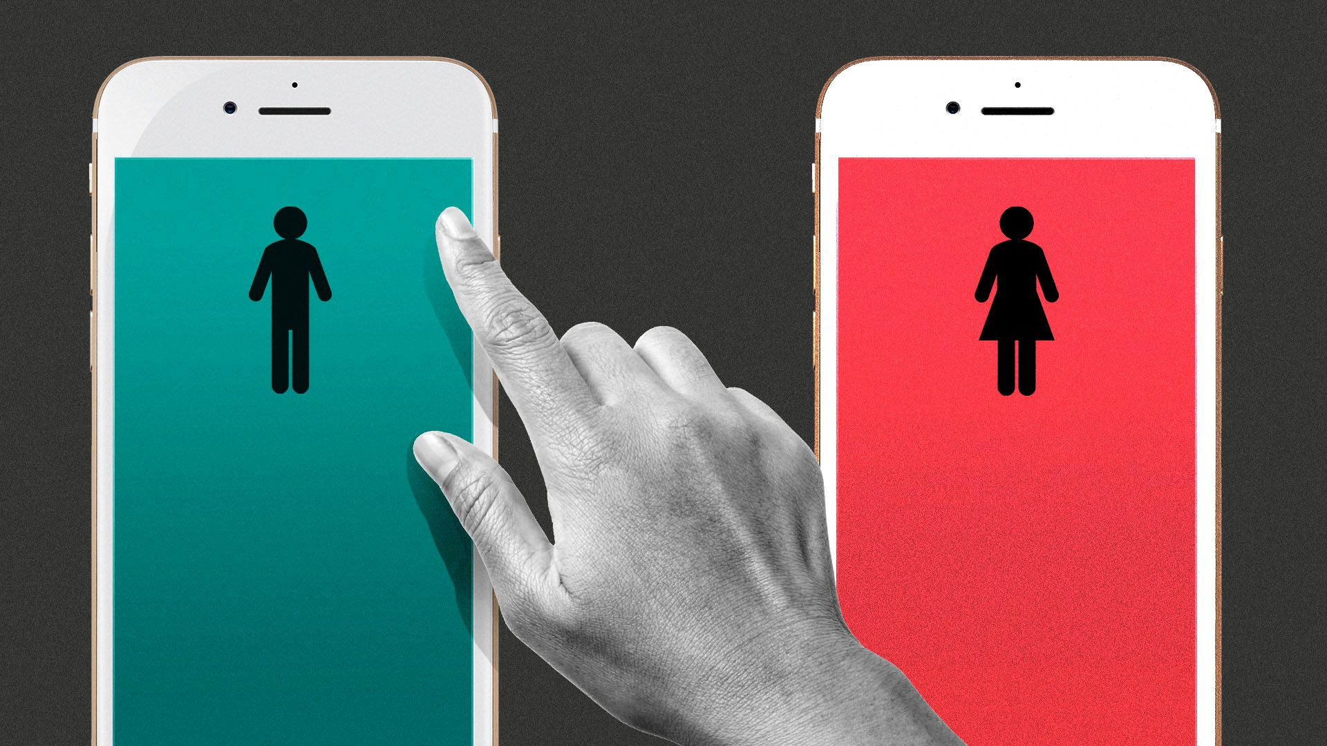 Illustration of a hand choosing between two phones, each with a male or female bathroom symbol on them